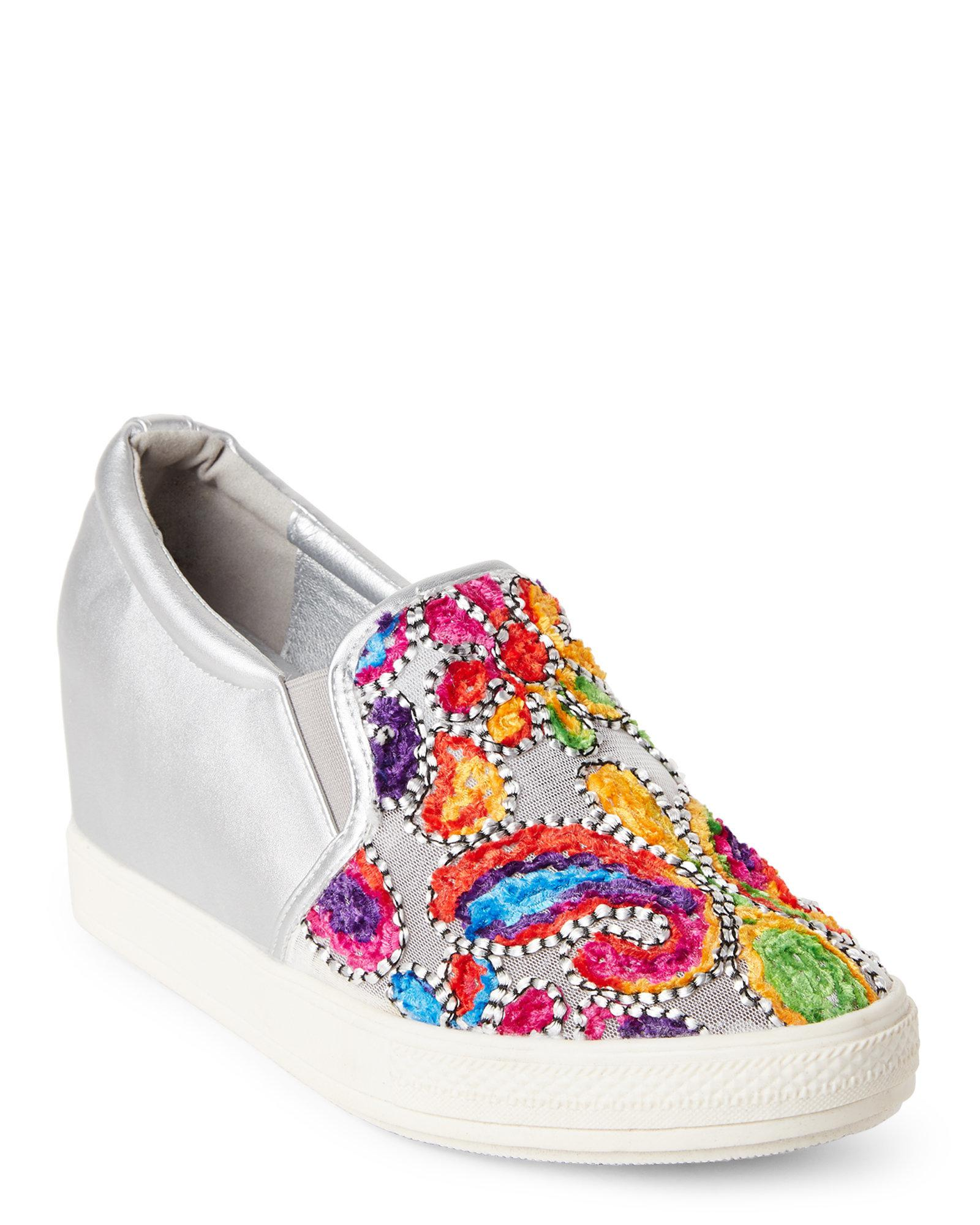 09a0e5629ec9 Lyst - Wanted Silver Picasso Embroidered Wedge Sneakers in Metallic