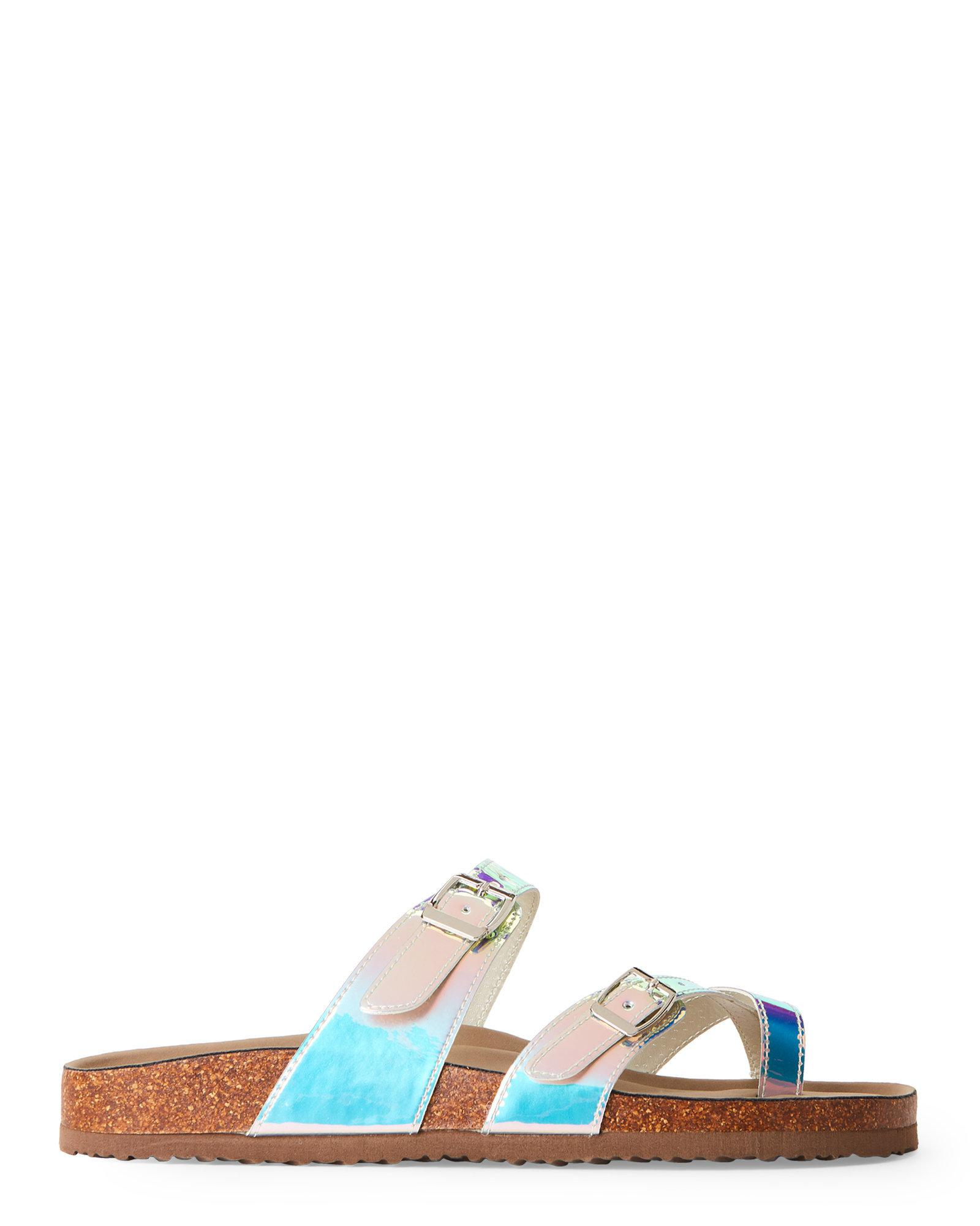 c7ed6cb2fe4d68 Lyst - Madden Girl Iridescent Bryceee Footbed Sandals