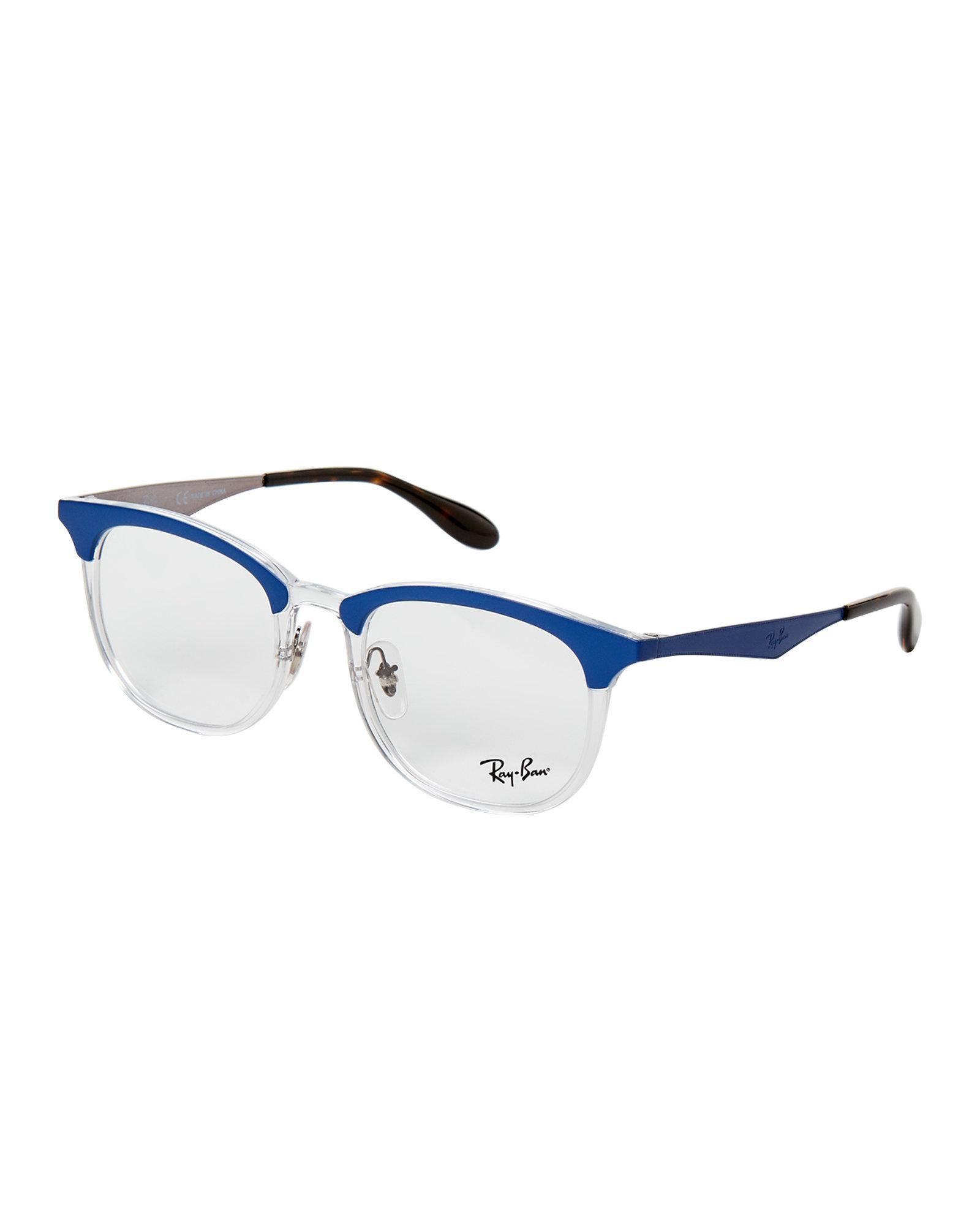 768ee07656 28c36 33ec7  france lyst ray ban rb 7112 blue clear round optical frames in  blue for men 3c3b8