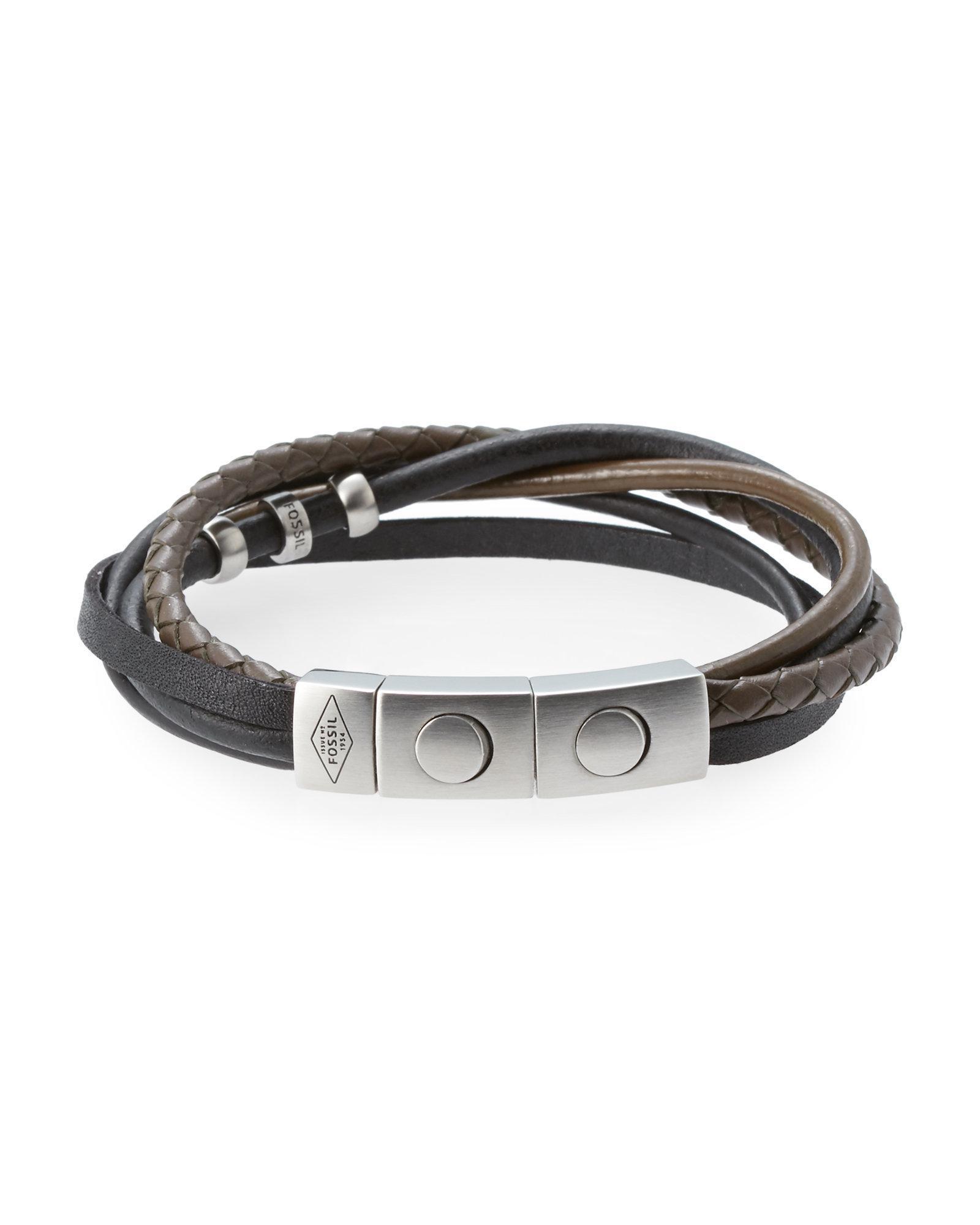 23b40b4c4b1 Fossil Black & Olive Braided Leather Bracelet in Black for Men - Lyst