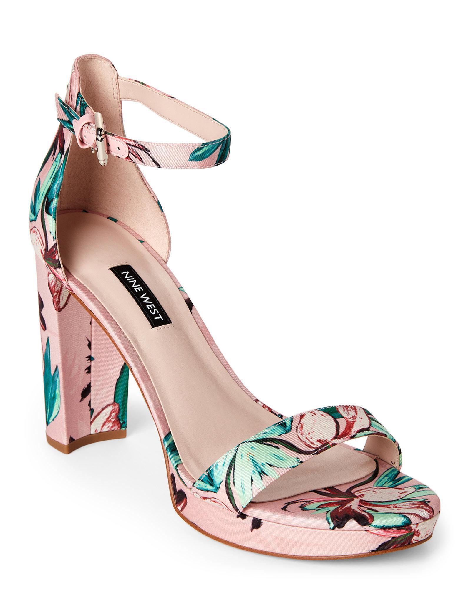 Lyst - Nine West Pink Dempsey Floral Satin Block Heel Sandals in Pink 68a674afaf85