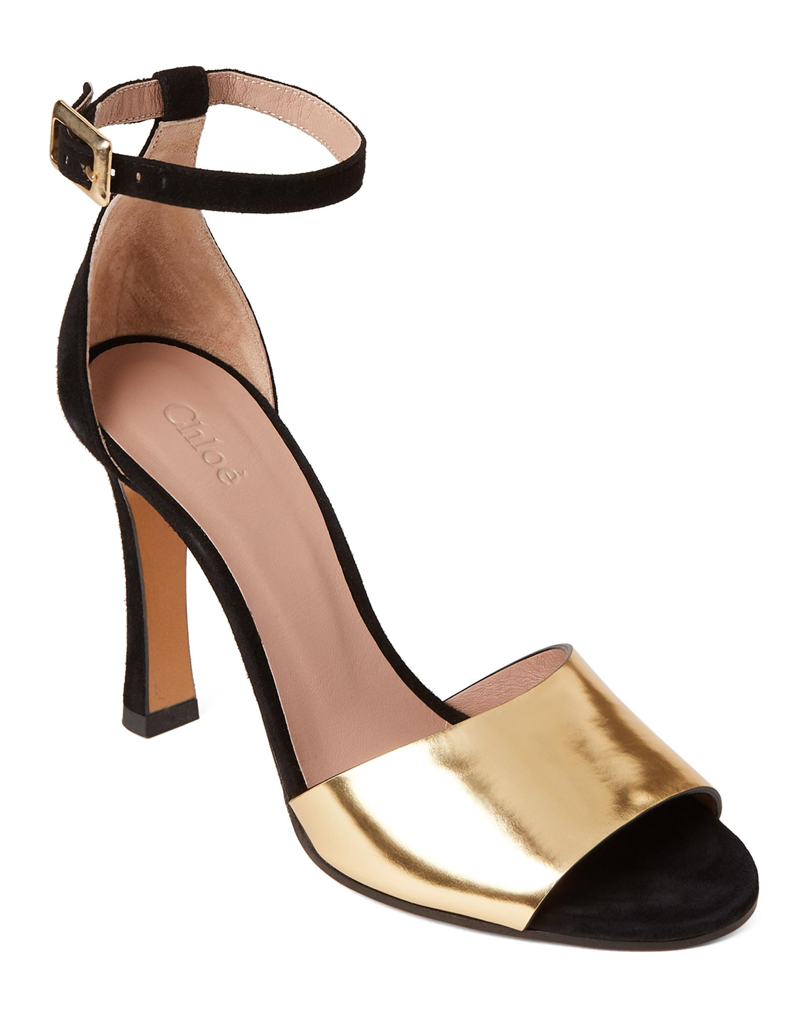 8defd410ee3d Lyst - Chloé Black   Gold Ankle Strap Suede Pumps in Metallic