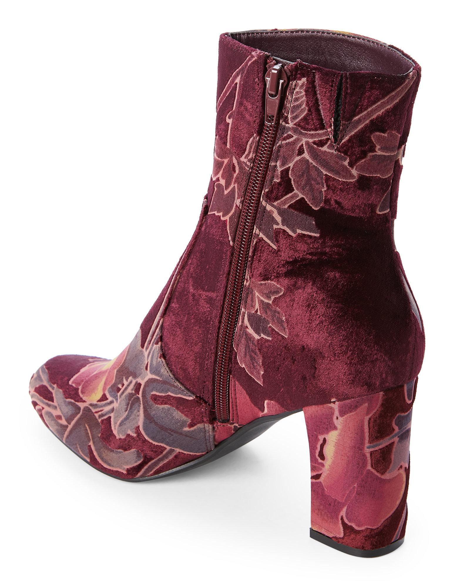 d7a226e93b73 Steve Madden Burgundy Elissa Brocade Velvet Booties in Purple - Lyst