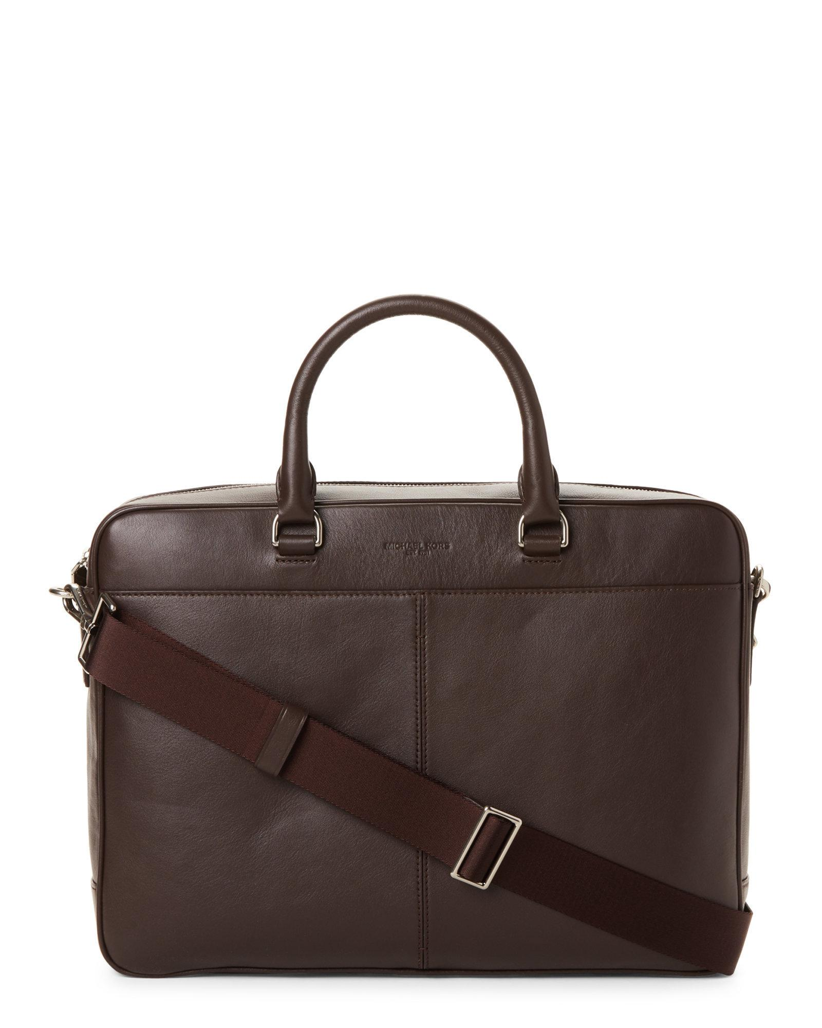 6aabe338c1f5 Lyst - Michael Kors Odin Leather Briefcase in Brown for Men