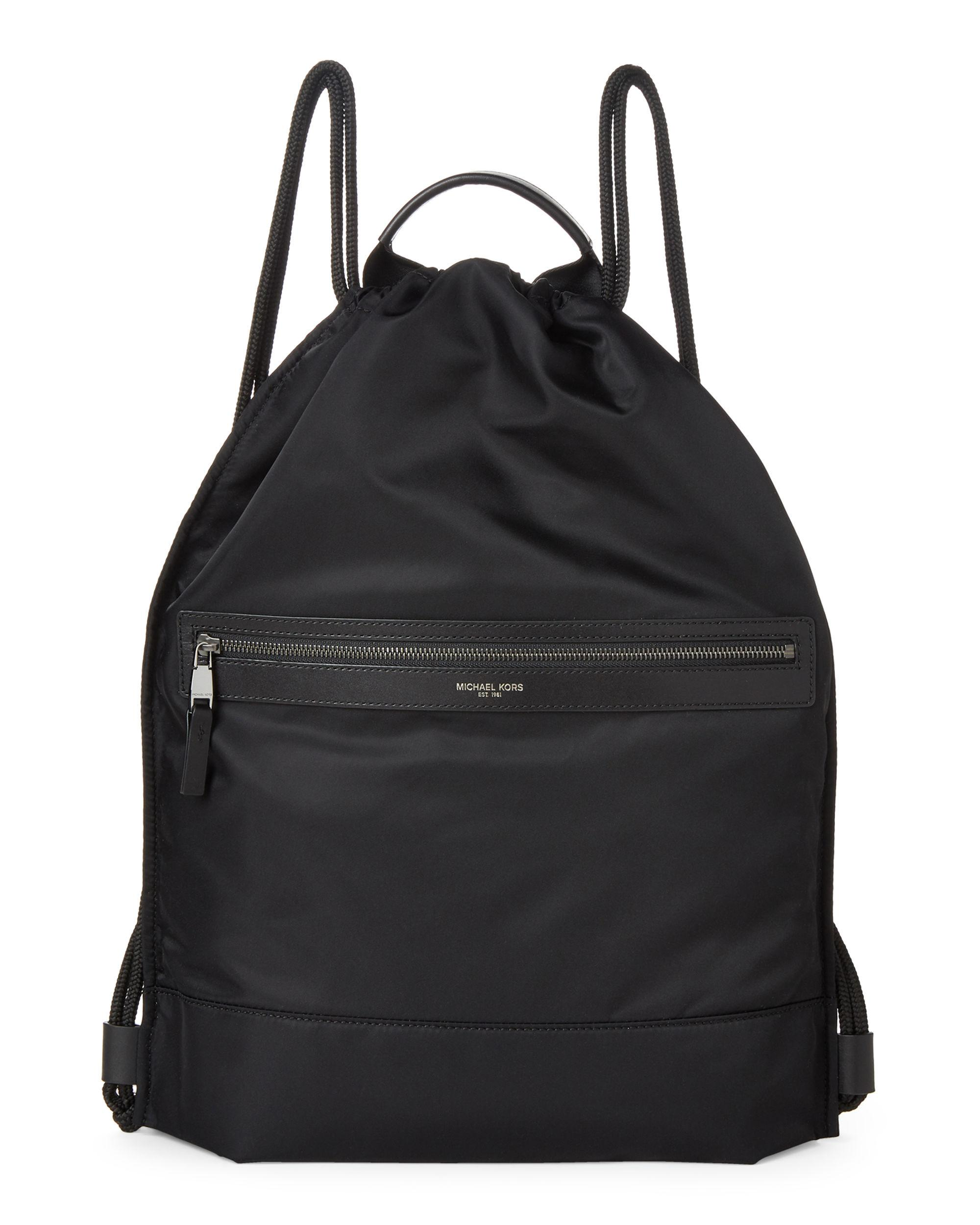 51c0500d1312 Michael Kors Black Kent Flat Drawstring Backpack in Black for Men - Lyst