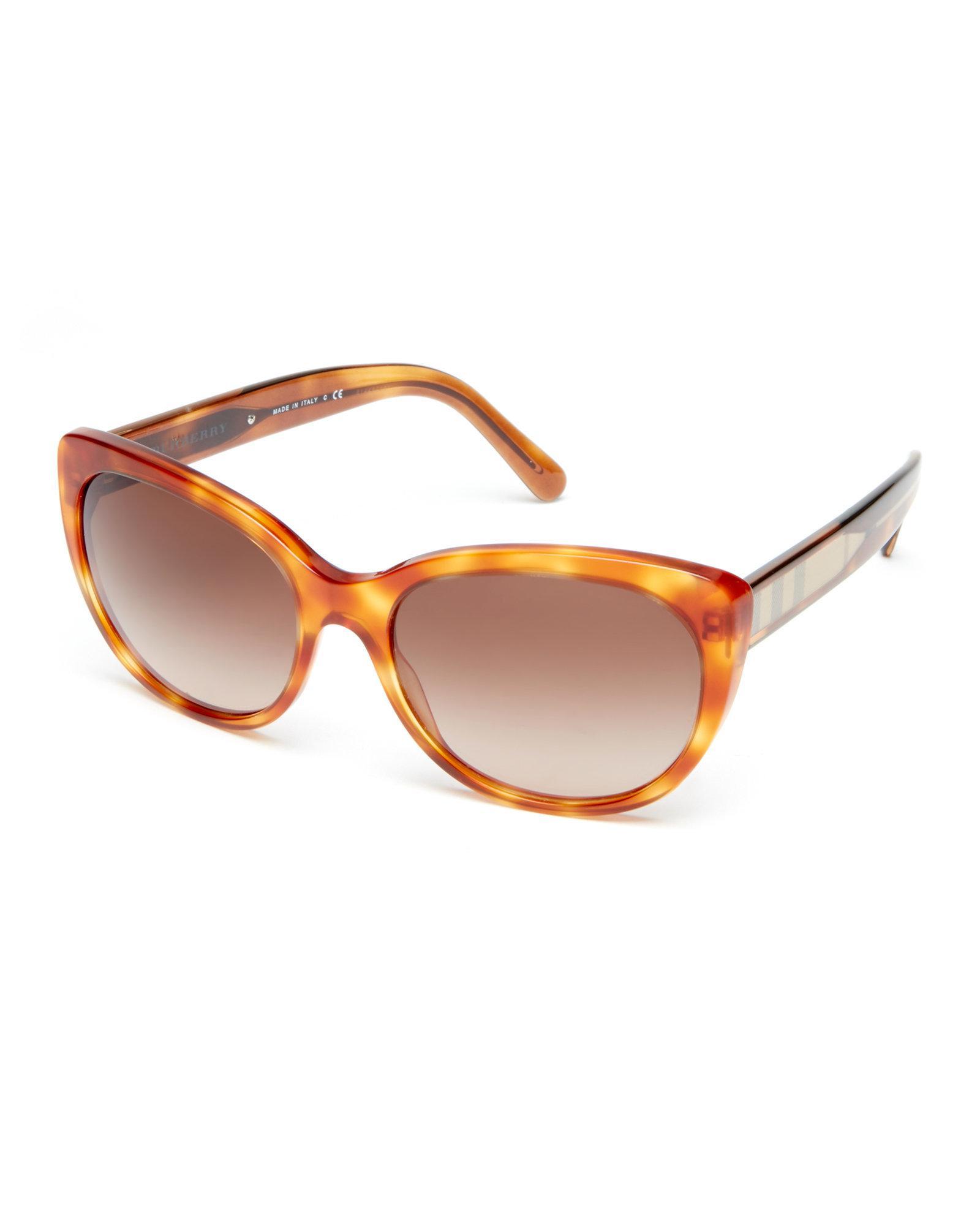 0374e885e47f Lyst - Burberry Be4224 Honey Tortoiseshell-Look Cat Eye Sunglasses ...