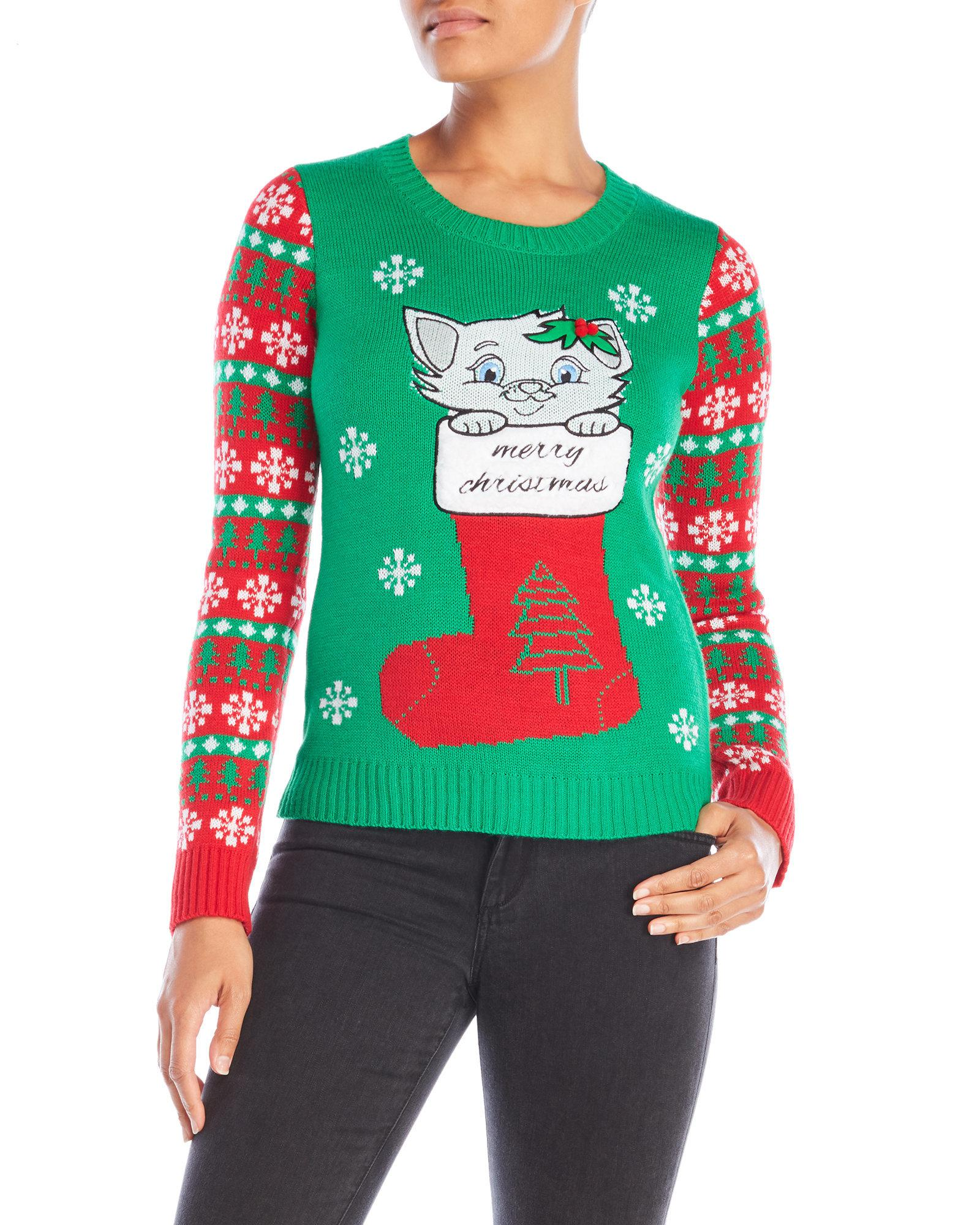 Lyst - Derek Heart Kitten Merry Christmas Sweater in Green