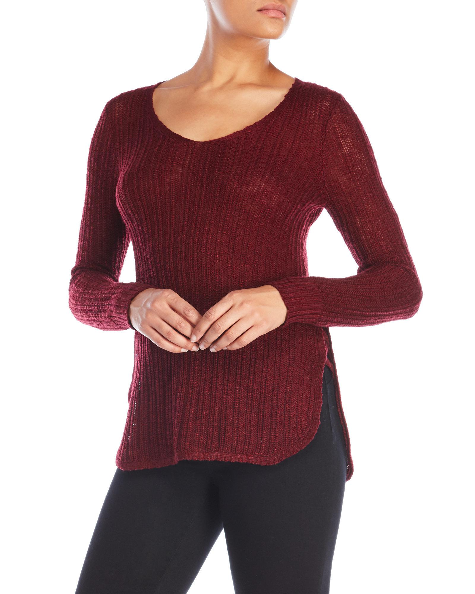 Pink rose Lace-Up Side V-Neck Sweater in Red | Lyst