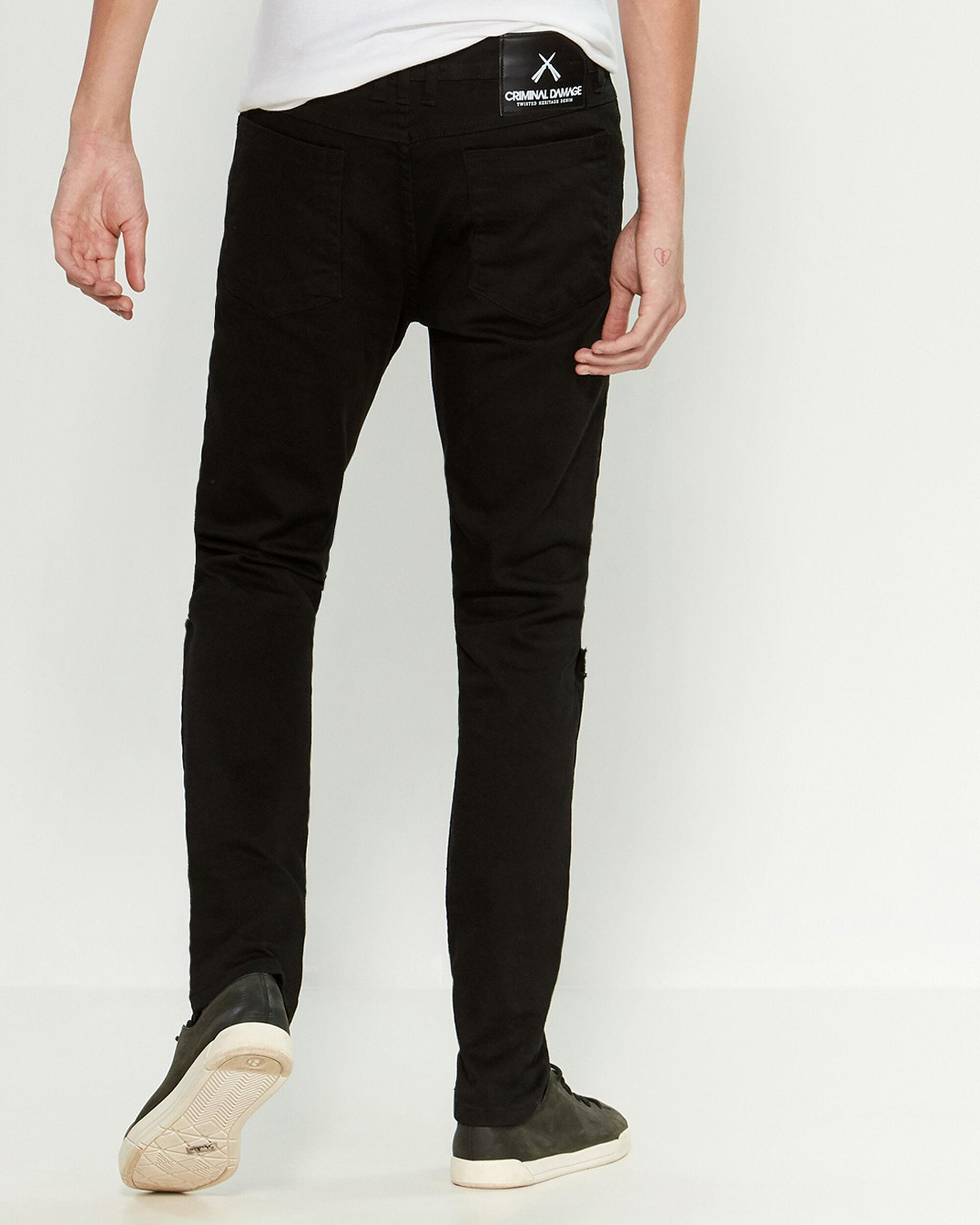 fc32f93f1cc Criminal Damage Black Sos Ripped Skinny Jeans in Black for Men - Lyst