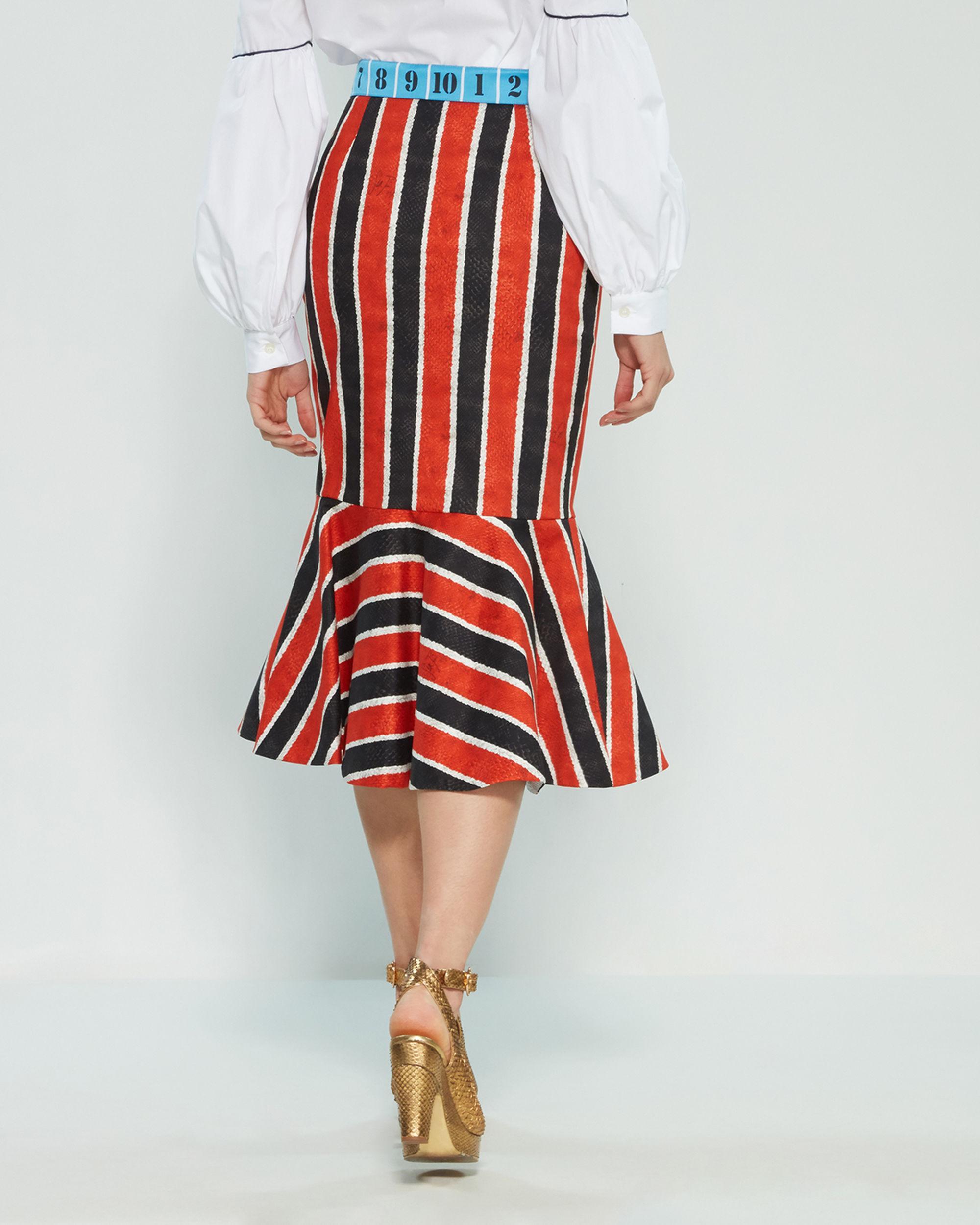 50e5a6b62 Stella Jean Red Striped Snakeskin Print Mermaid Midi Skirt. View fullscreen