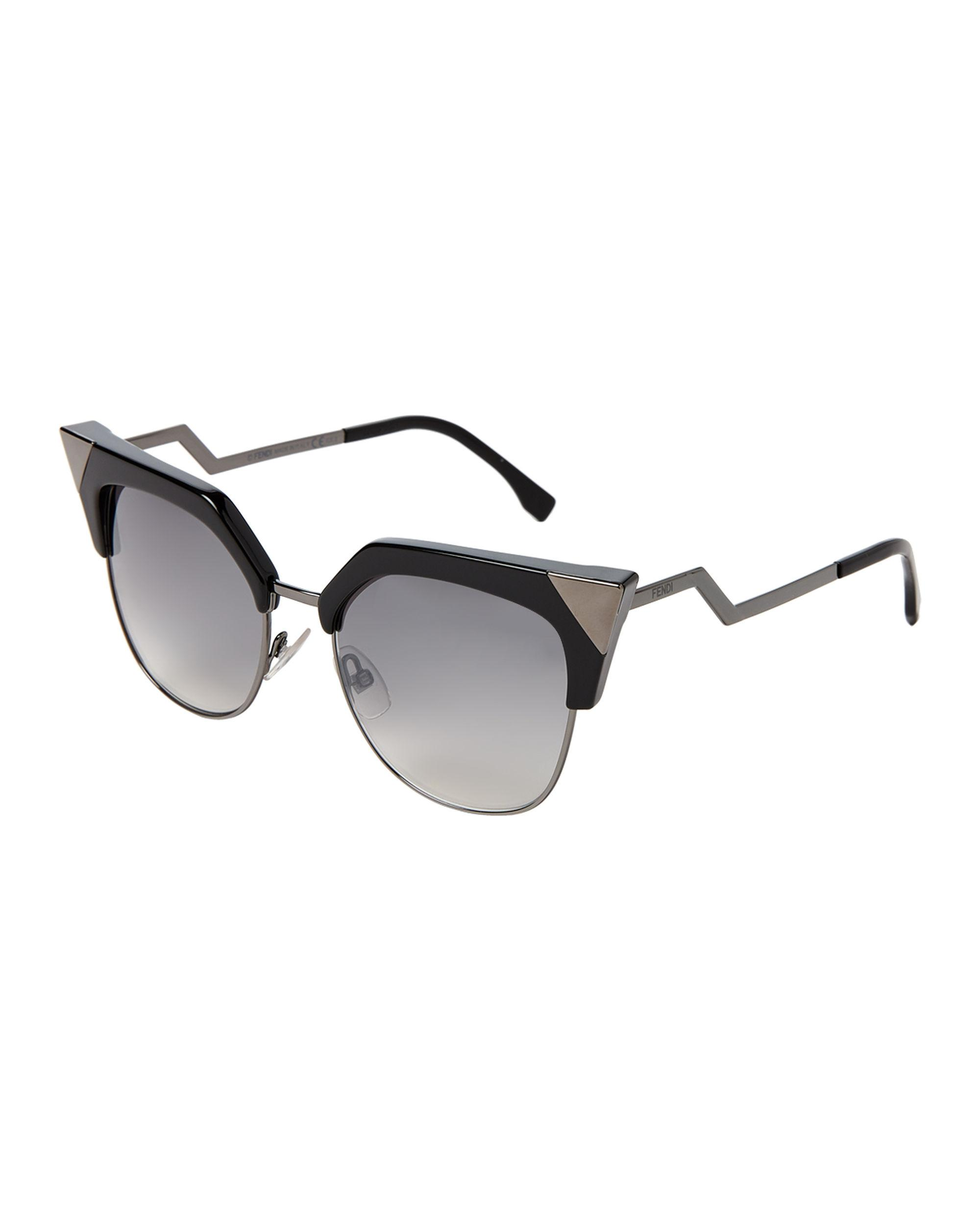 925776b03c Lyst - Fendi Ff 0149 s Black   Gunmetal-tone Cat Eye Sunglasses in Black