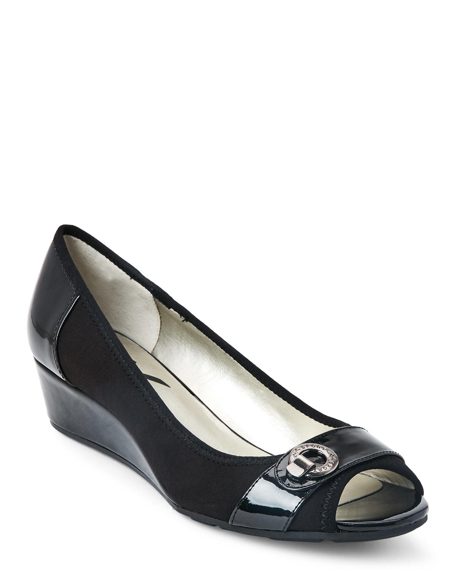 Lyst Ak Anne Klein Black Carvol Peep Toe Wedges In Black