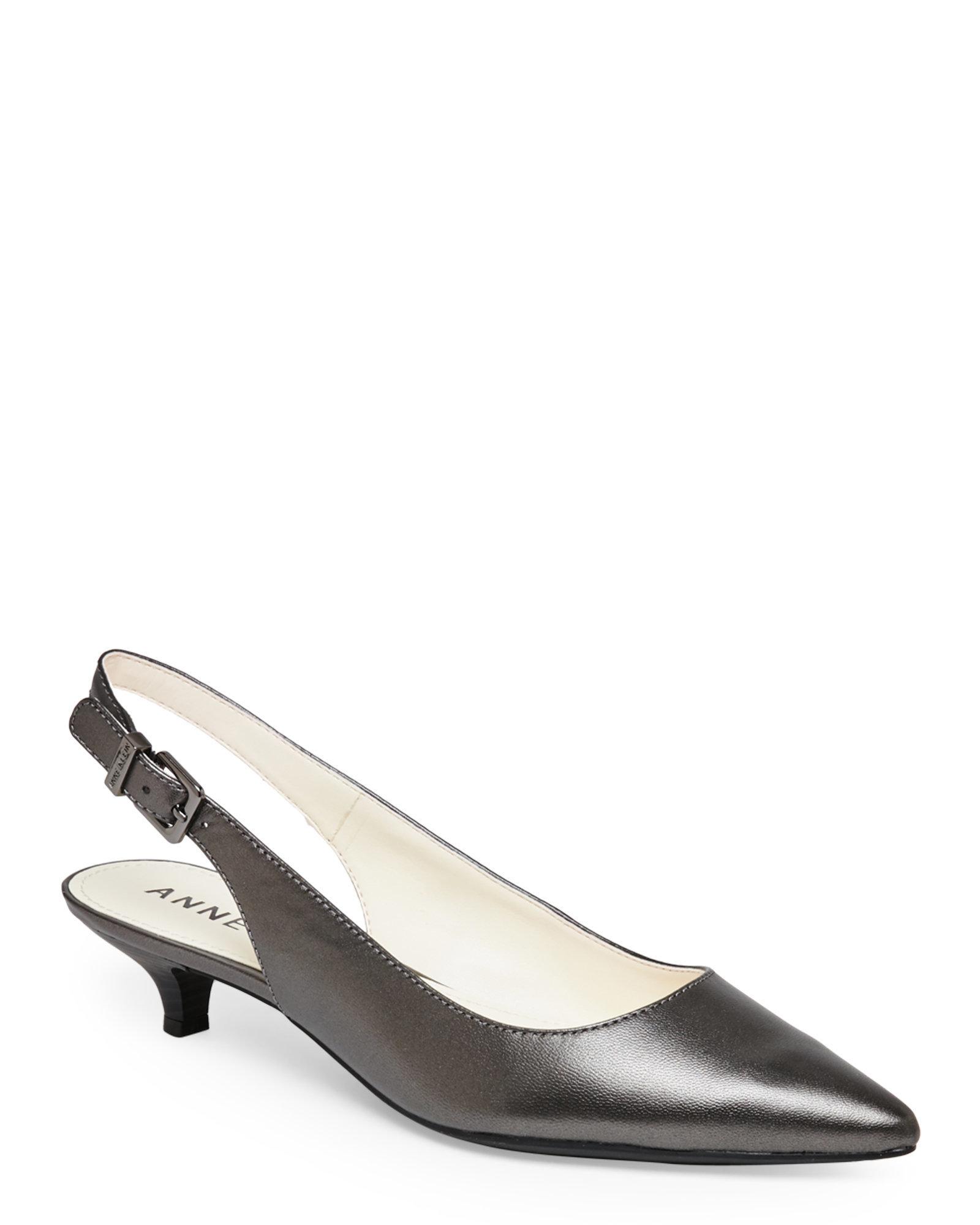 Anne Klein Pewter Expert Pointed Toe Low Heel Slingback