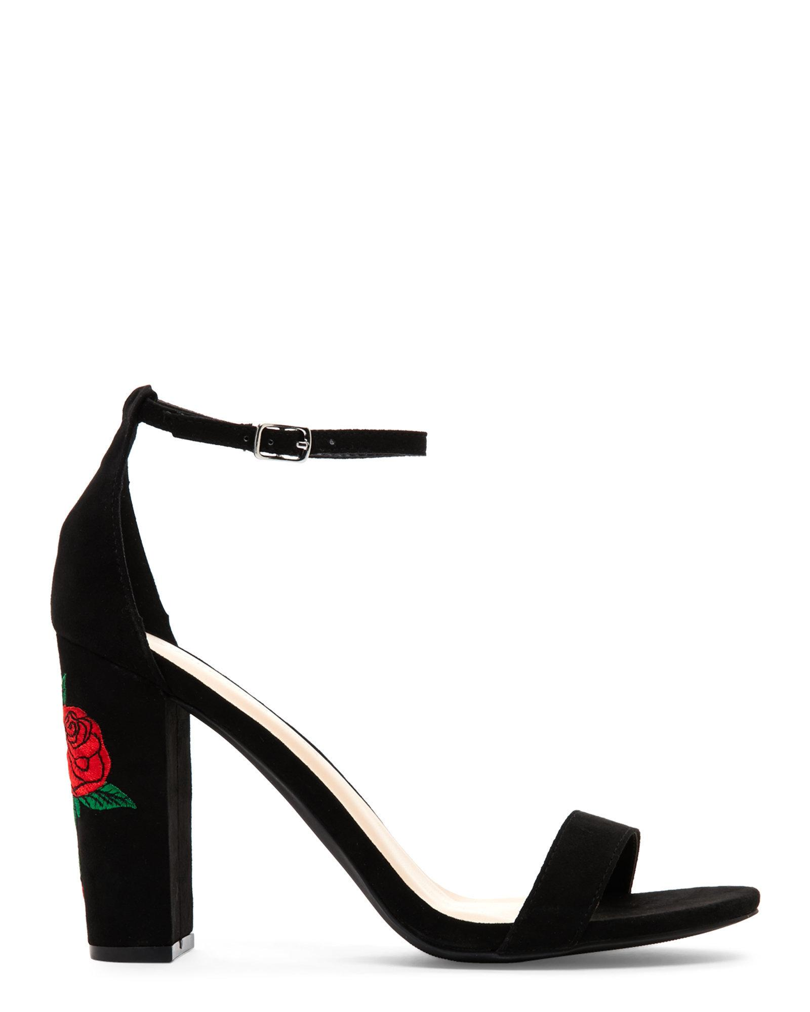 Black Suedette Floral Embroidered Heel Boots New Look