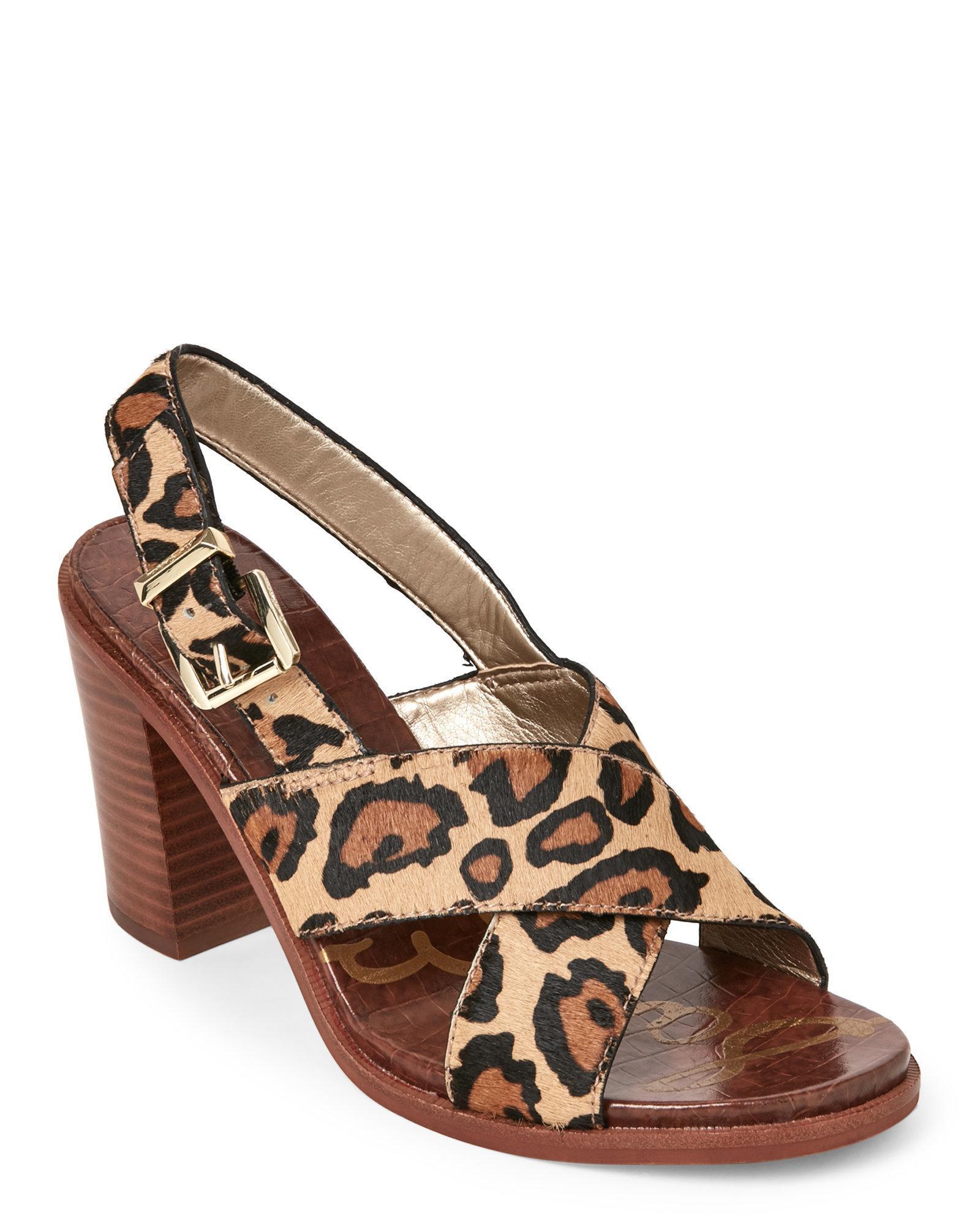 5c307f1e64216 Lyst - Sam Edelman Leopard Ivy Block Heel Slingback Sandals in Brown