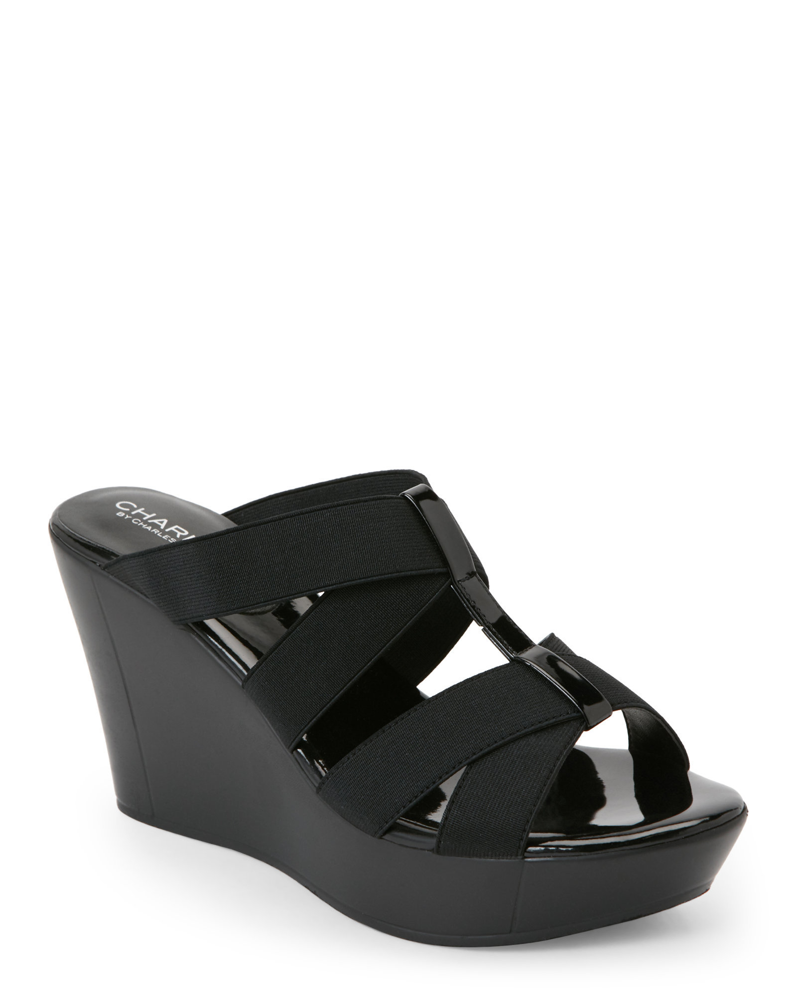Charles By Charles David Black Farther Stretch Wedge