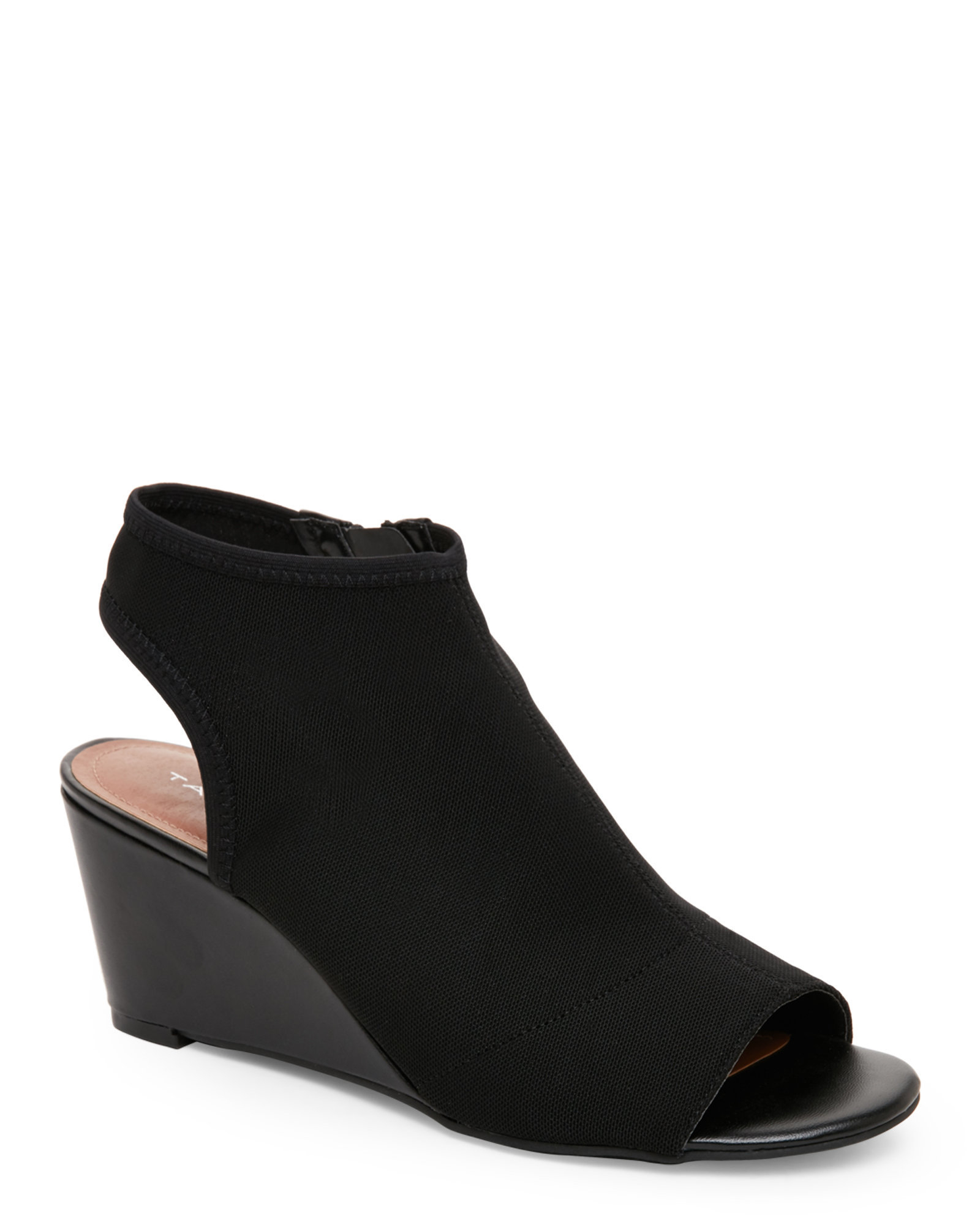 tahari black sindy open toe slingback wedge sandals in