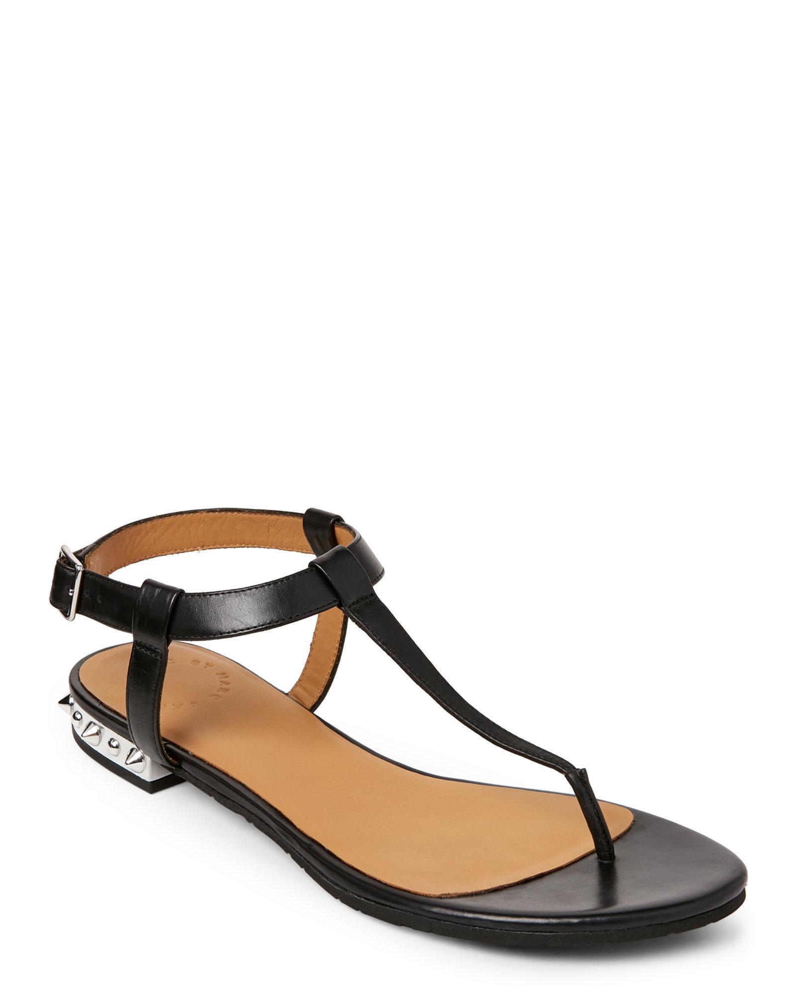 Black sandals with straps - Marc By Marc Jacobs Women S Black Punk Classics T Straps Flat Sandals