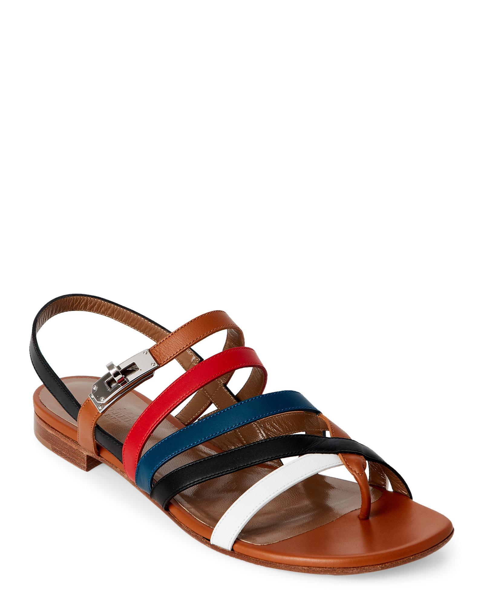 0775078cb7b0 Lyst - Hermès Multicolor Marine Strappy Slingback Sandals