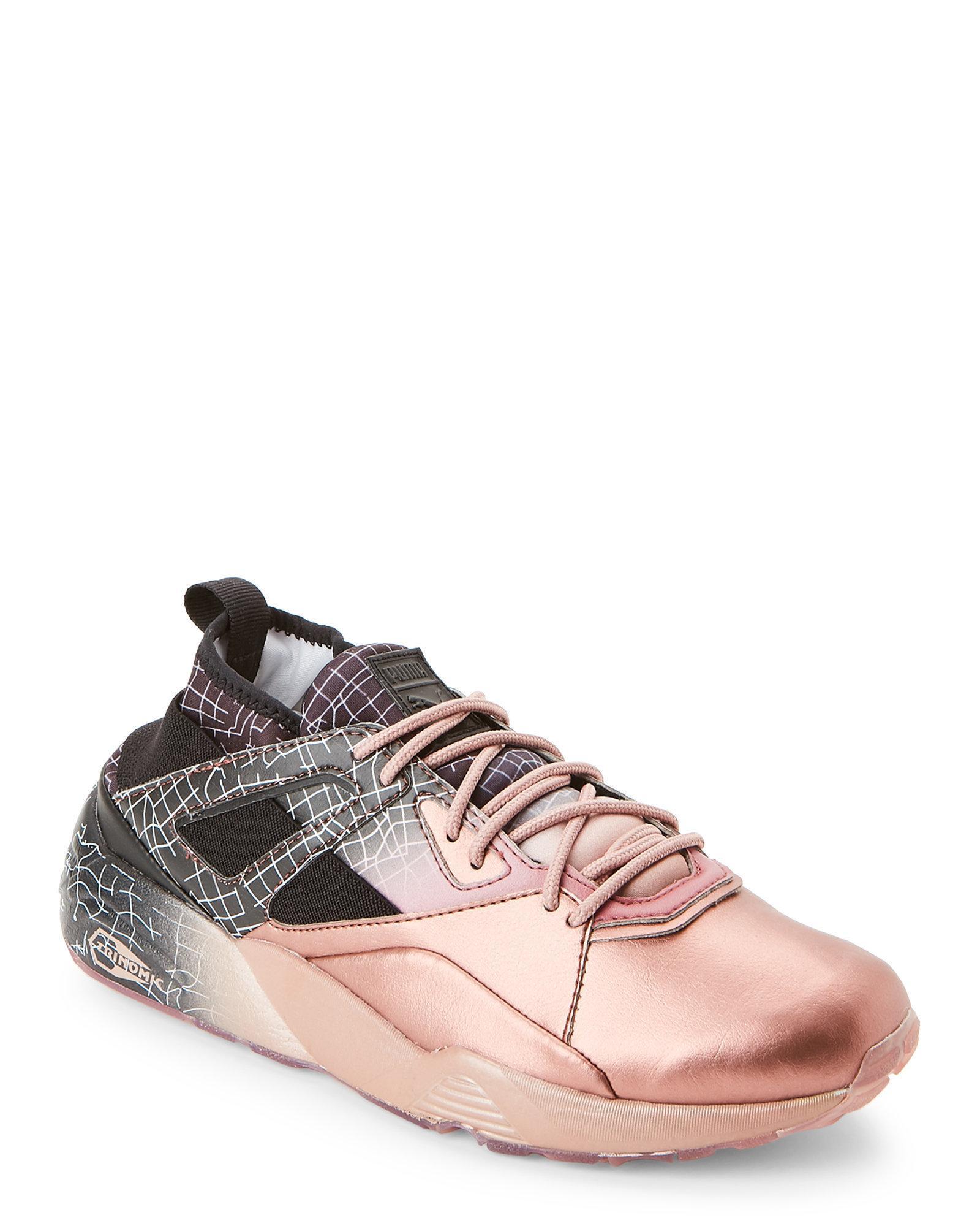 610170cb0ecaf8 Lyst - PUMA Rose Gold   Black Blaze Of Glory Sock Running Sneaker in ...