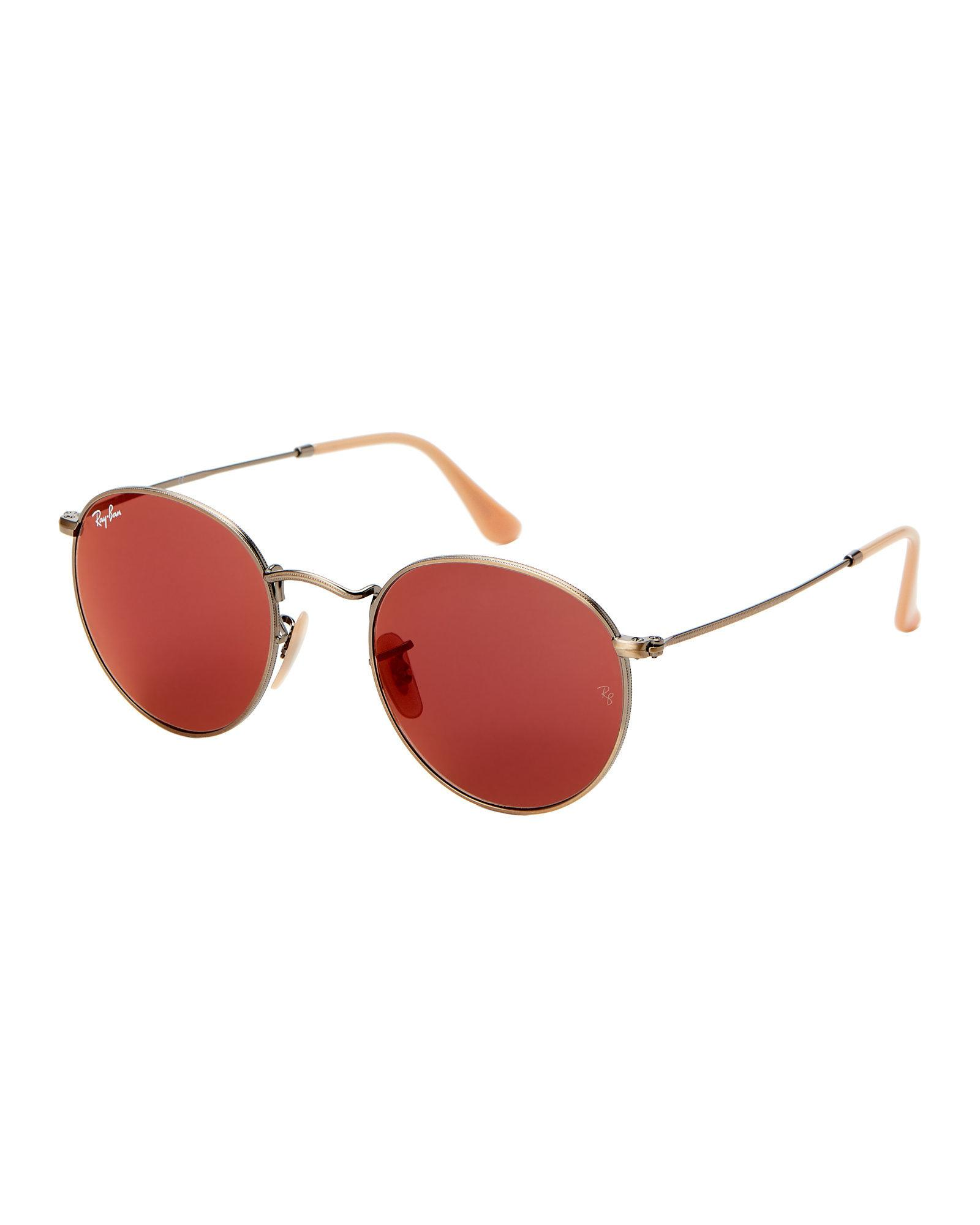 0a188b3edc ... Lyst - Ray-Ban Rb3447 Bronze Round Sunglasses in Red best choice 30de8  d6af5 ...