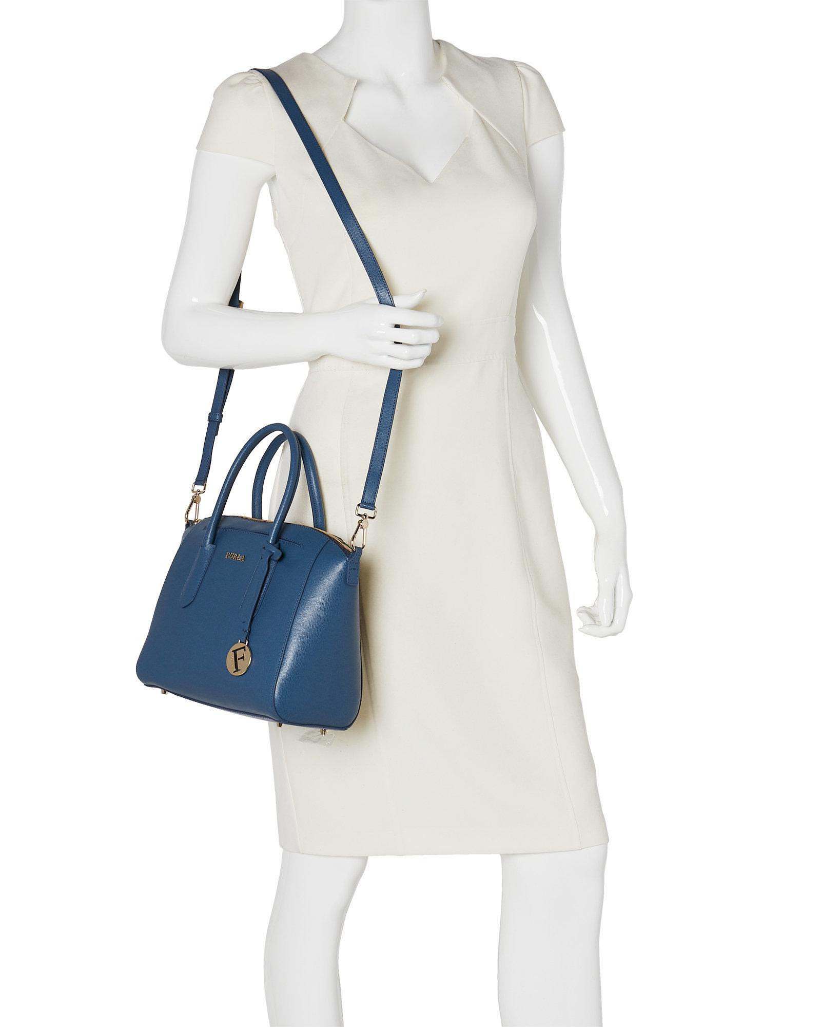 Lyst Furla Tessa Small Leather Satchel In Blue Fossil Gallery
