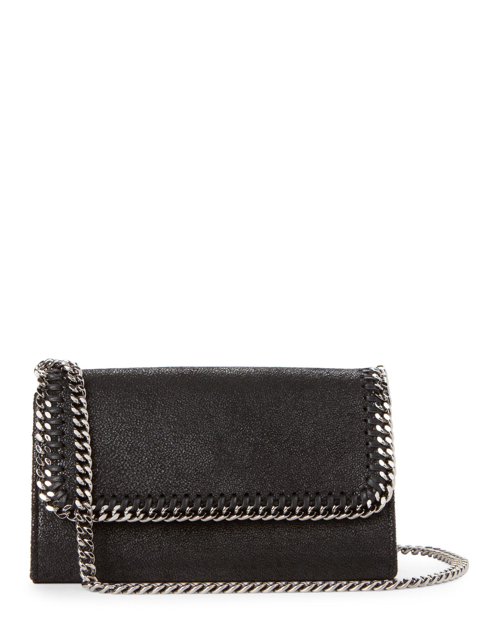 dce943375ff Lyst - Stella McCartney Black Falabella Shaggy Deer Chain Wallet in ...