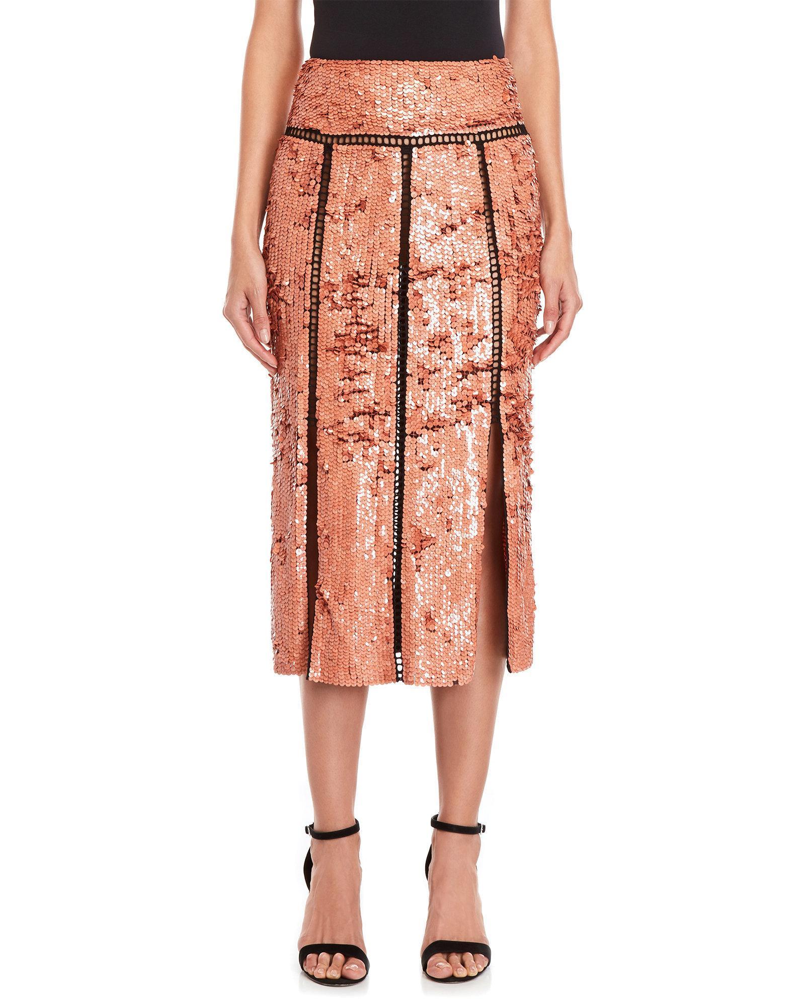 448b4ed7a4 Emilio Pucci Blush Sequin Midi Skirt in Pink - Lyst
