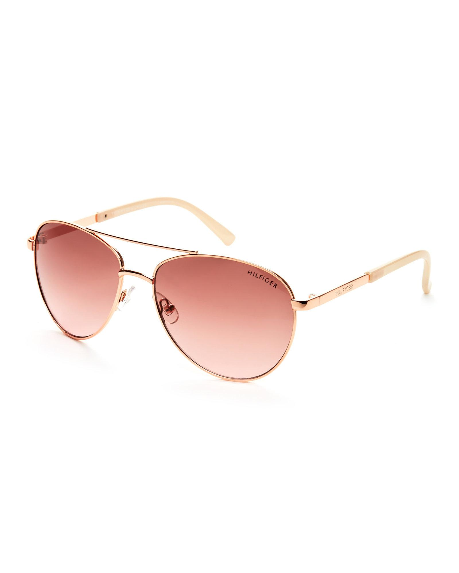 423dbc4e67 Lyst - Tommy Hilfiger Rose Gold-Tone Lindsay Aviator Sunglasses in Pink