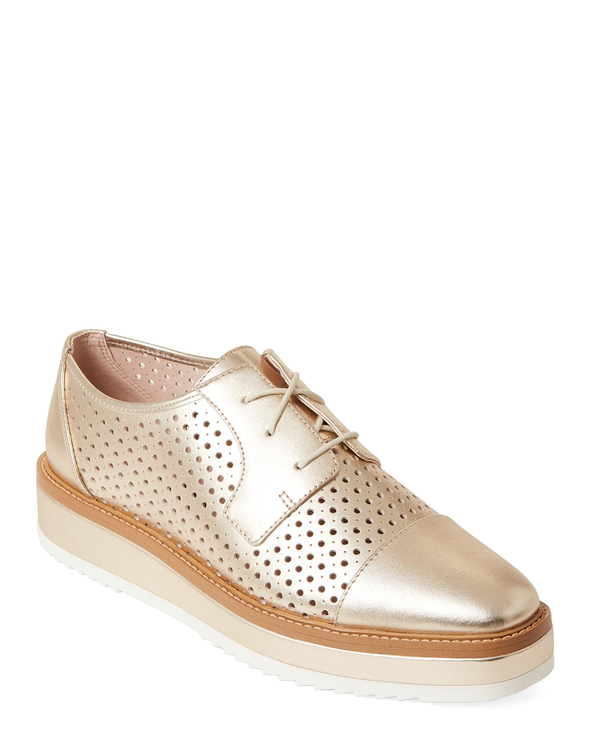 50565f2336c Lyst - Nine West Gold Verwin Platform Derby Shoes in Metallic