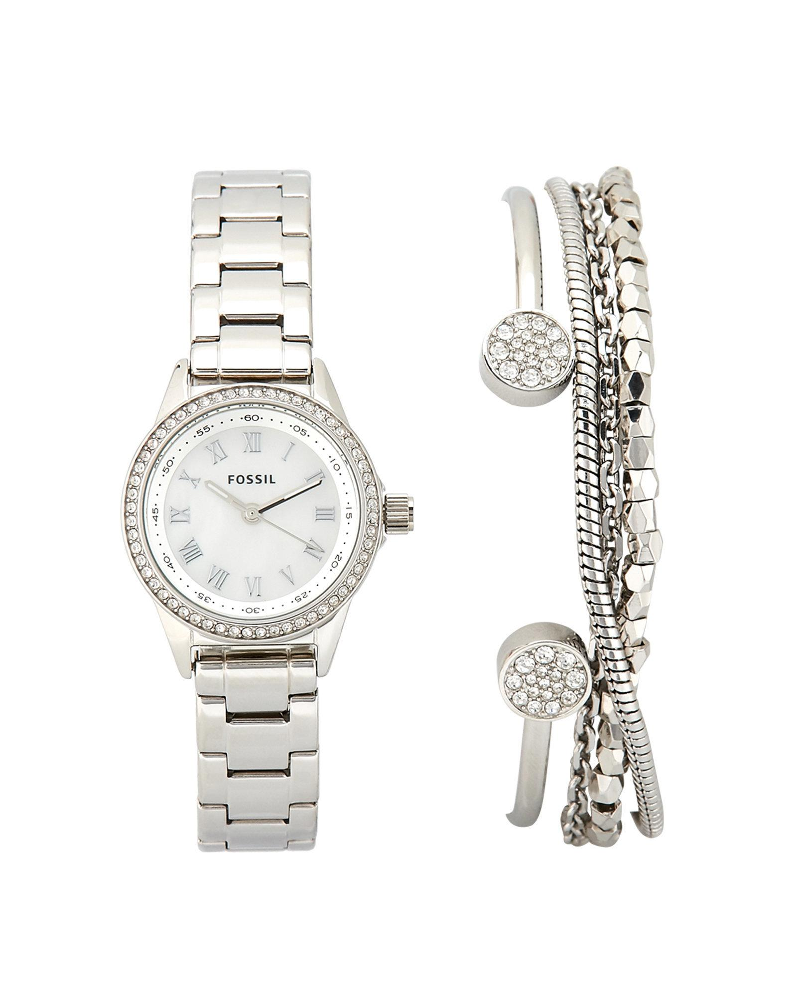 Lyst Fossil Bq3149 Silver Tone Watch Bracelet Set In Metallic