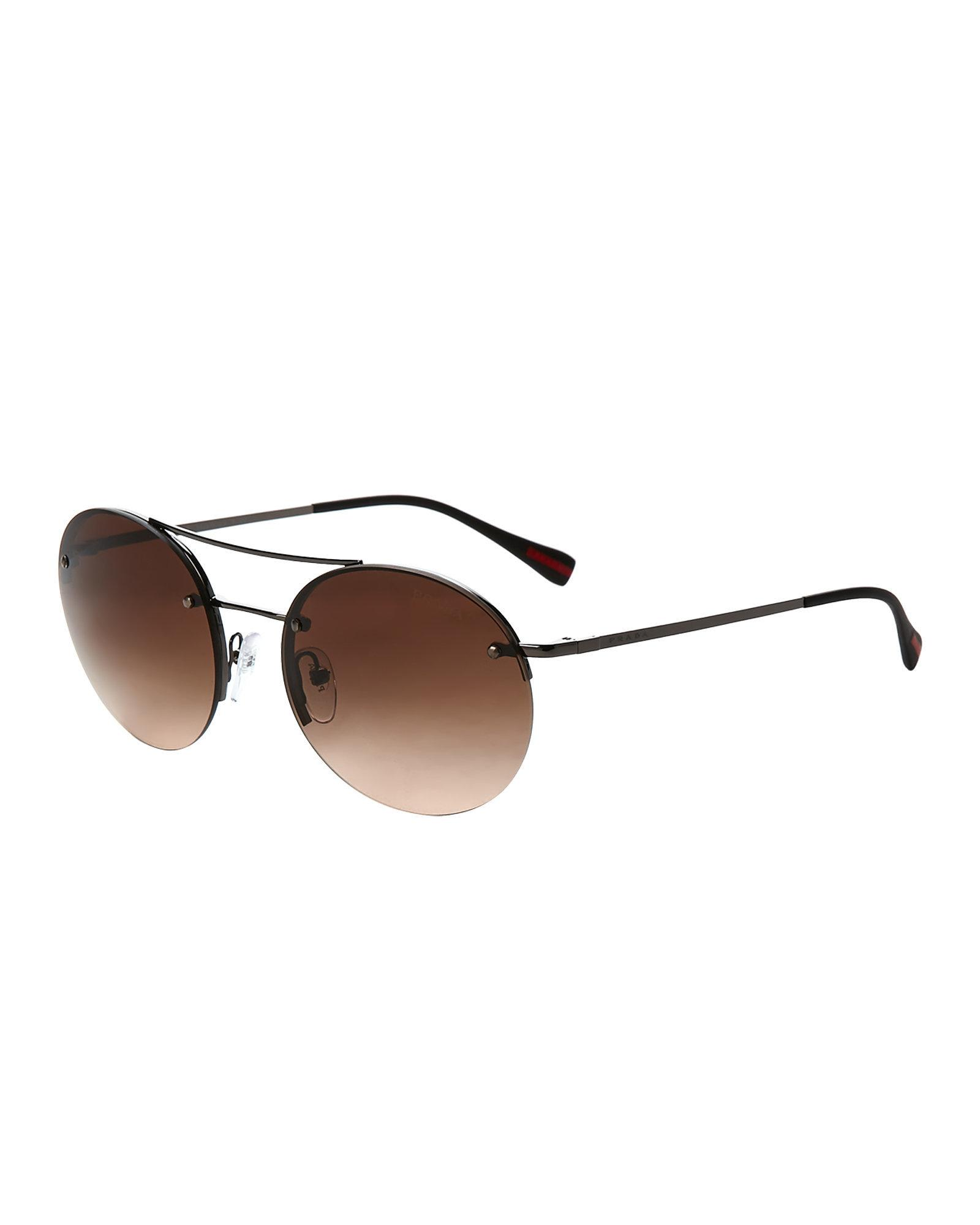 491bf32e100b ... coupon for lyst prada sport sps 54r ruthenium tone round sunglasses in  brown 778d6 3ff05