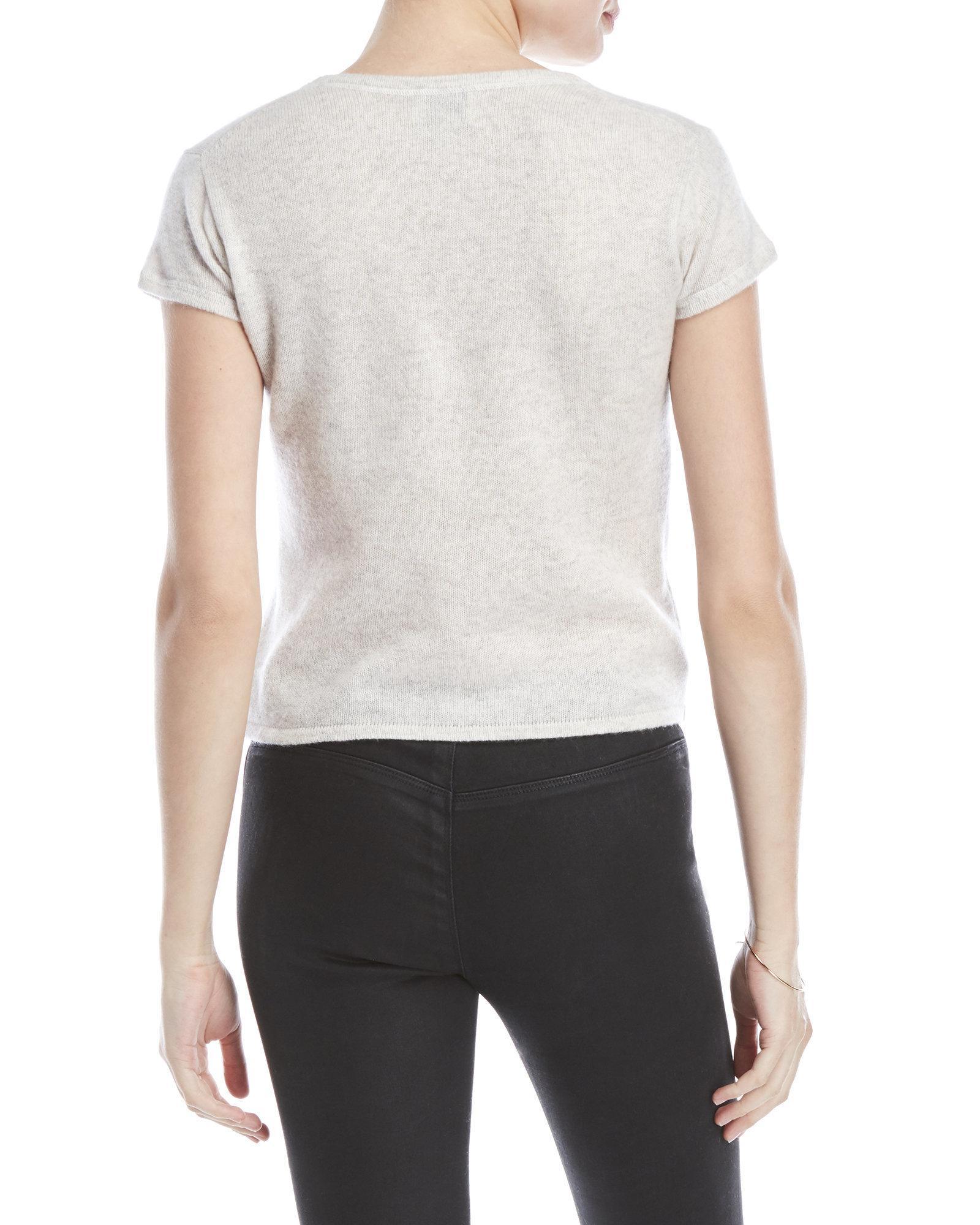 da071486d9 Lyst - Qi Petite Short Sleeve Cashmere Sweater in White