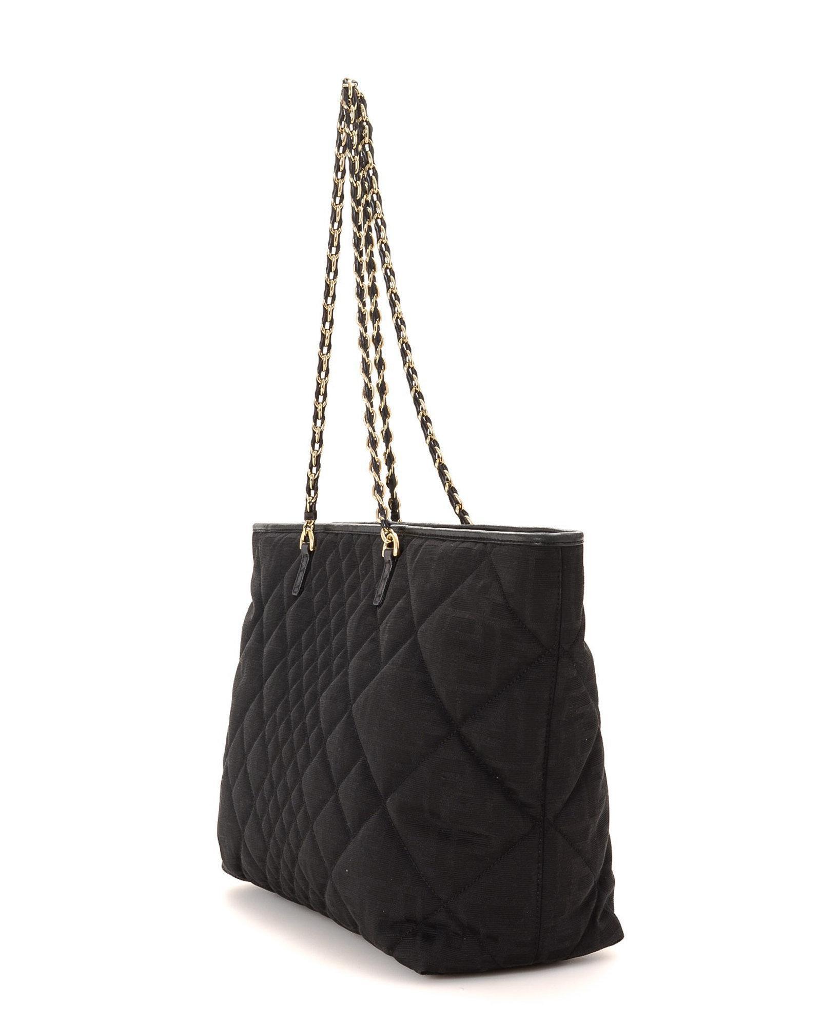 4e47ab2273f1 Lyst - Fendi Zucca Tote - Vintage in Black