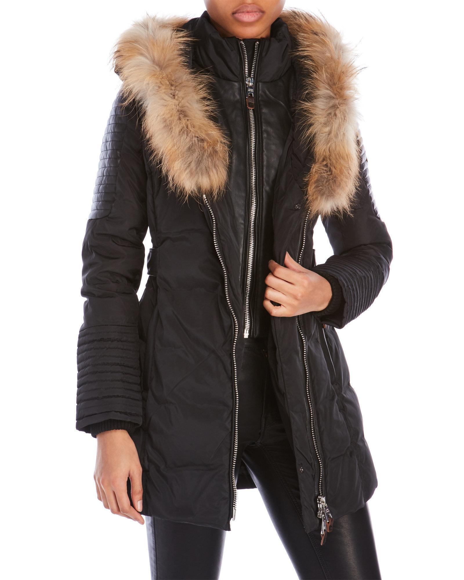 Nicole benisti Asymmetrical Down Puffer Jacket With Real Fur Trim ...