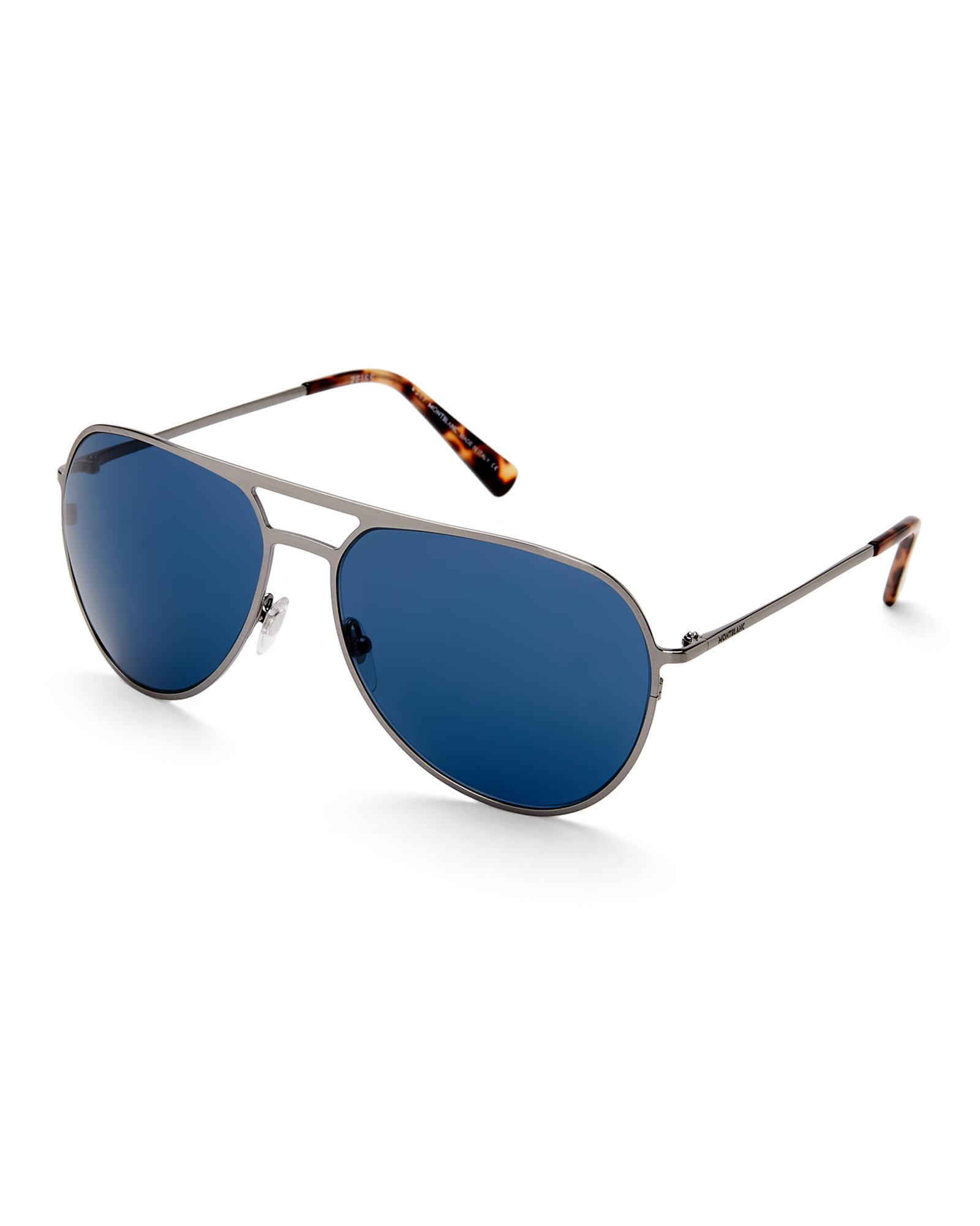 8eea535ae28 Lyst - Montblanc Mb 546S Silver-Tone Xl Aviator Sunglasses in Blue ...