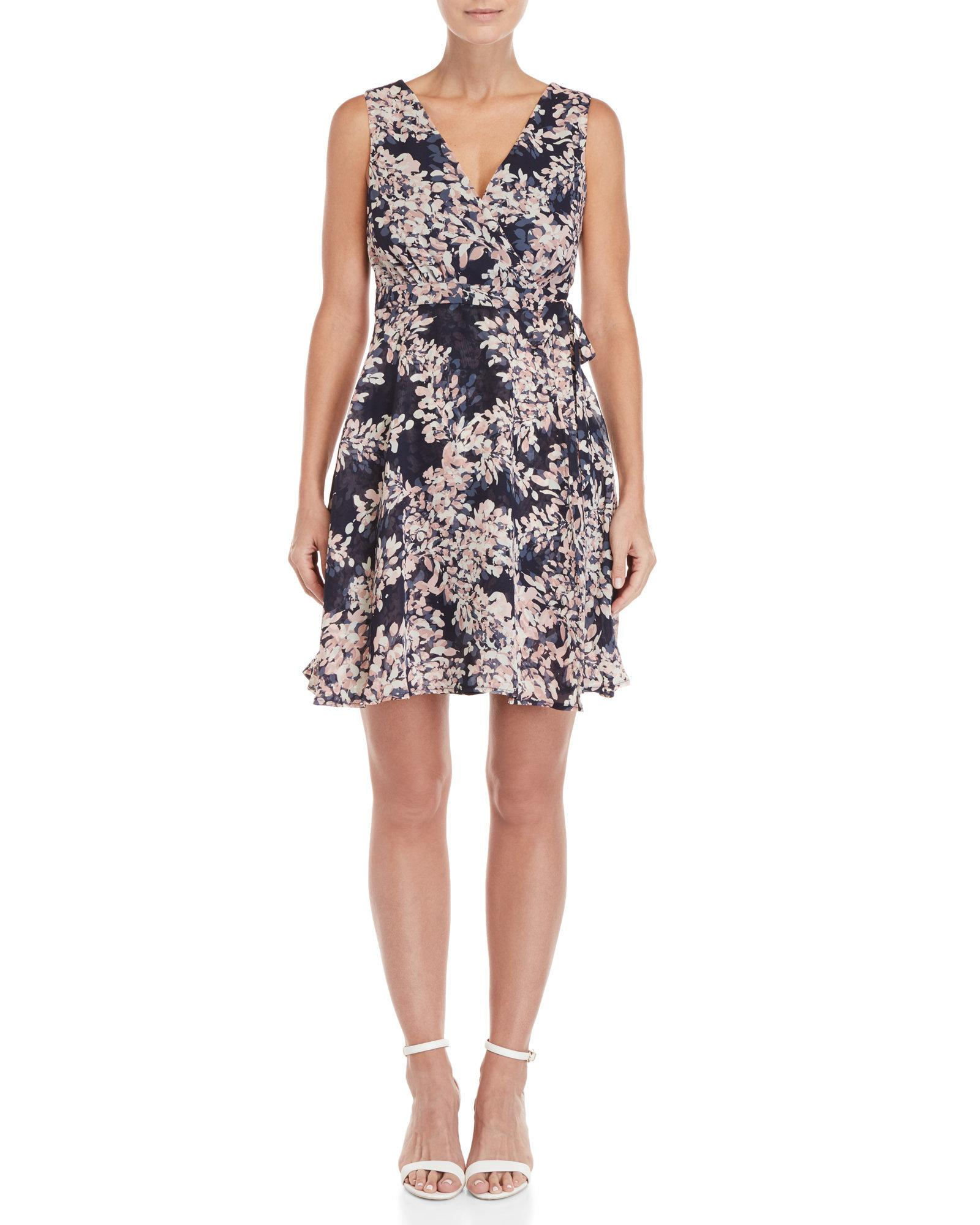 Lyst Apricot Navy Blush Floral Wrap Dress In Blue
