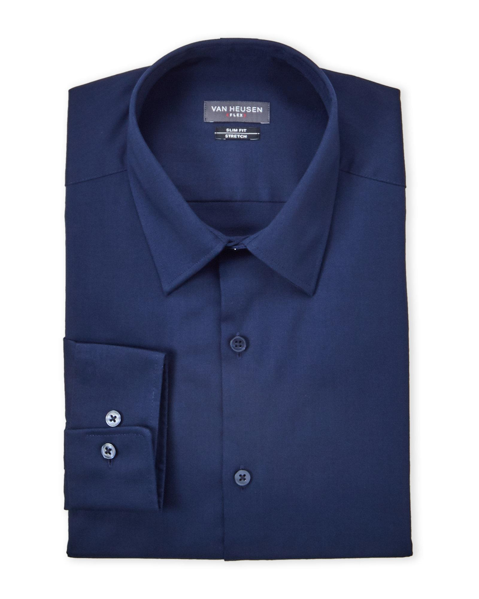 Lyst Van Heusen Night Blue Stretch Slim Fit Dress Shirt In Blue