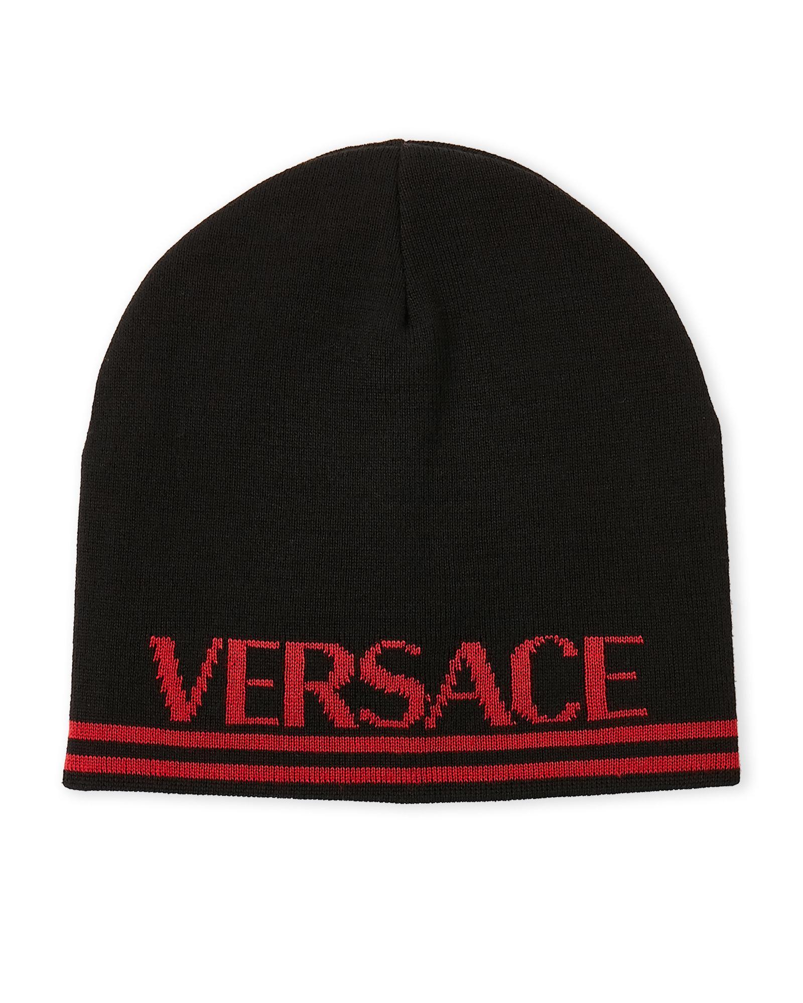 10e5ac7534d Lyst - Versace Logo Beanie in Black for Men