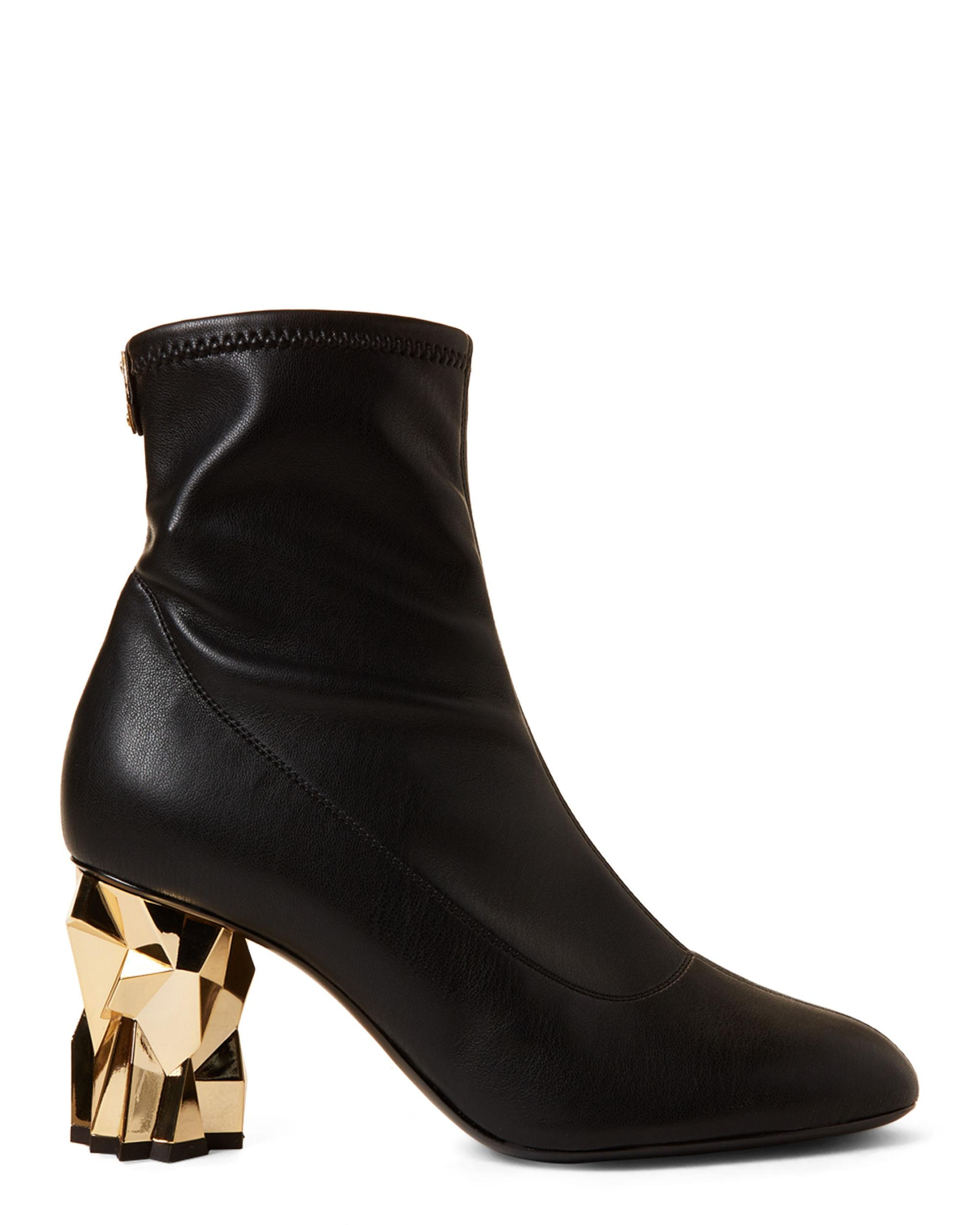 11f47b4c5b Giuseppe Zanotti Blaze Gold-tone Heel Stretch Leather Ankle Boots in ...
