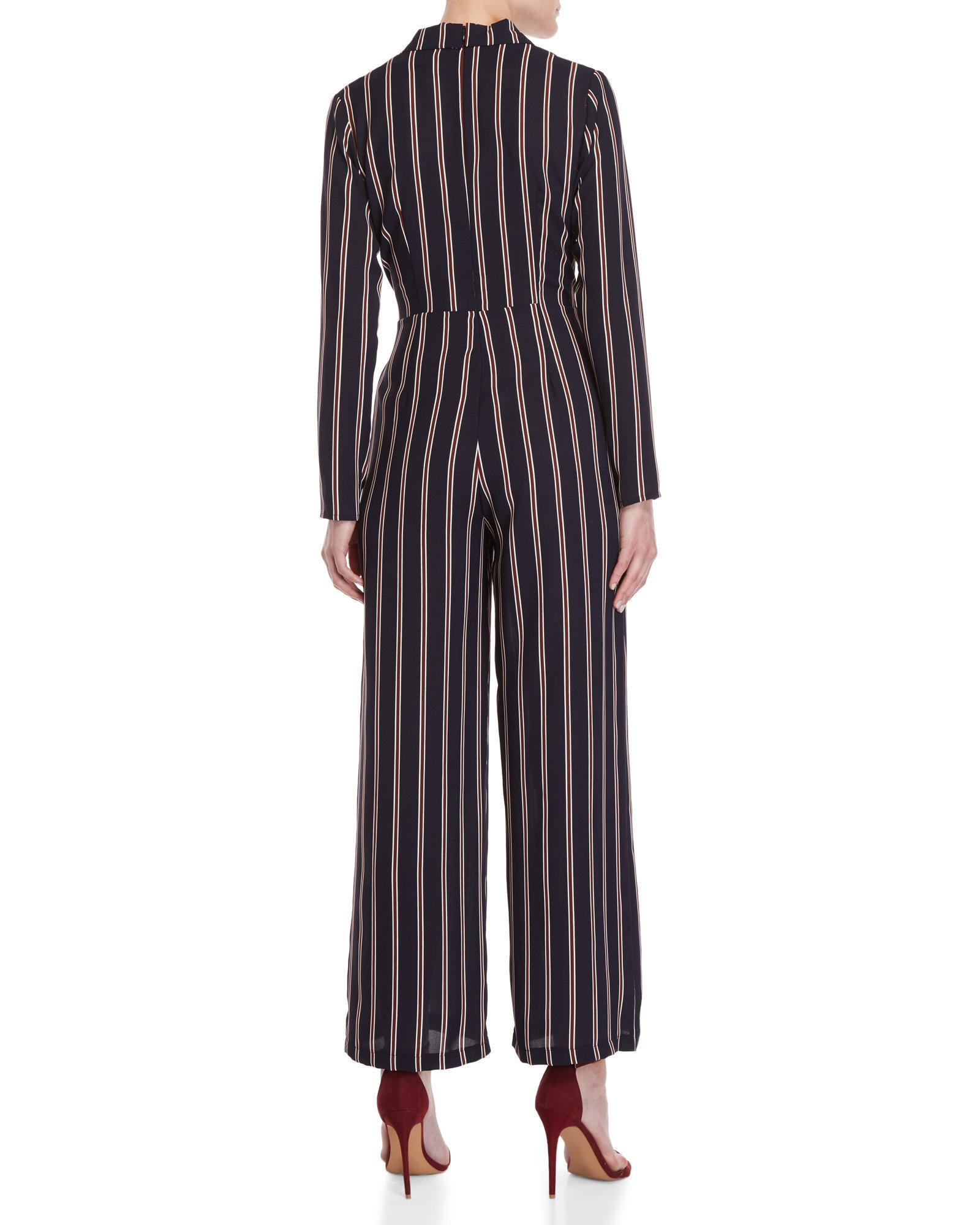 b34b58ded2ed Lyst - Lush Shadow Striped Belted Jumpsuit in Blue