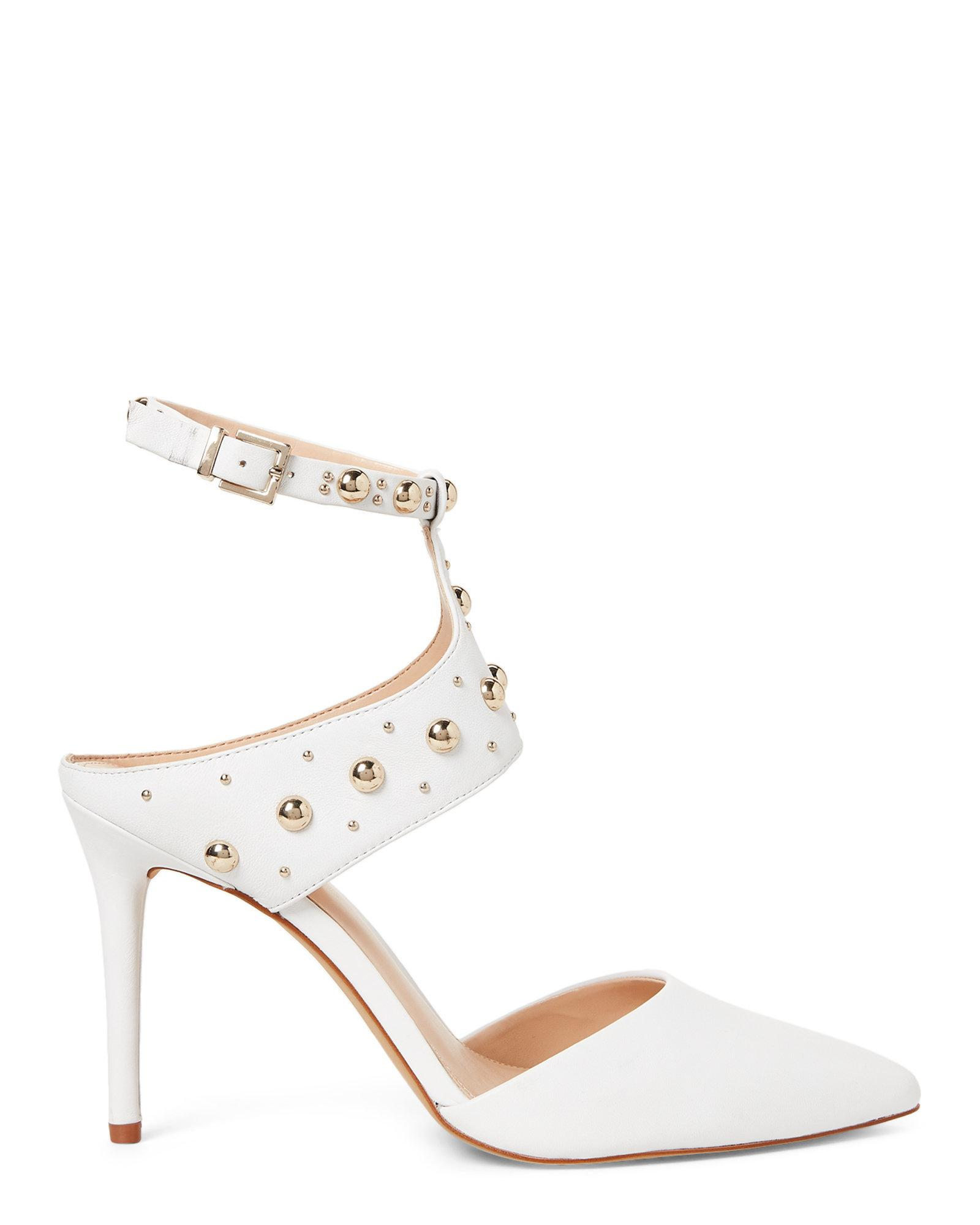 32fb99b78d1 Lyst - Vince Camuto Pure White Ledana Studded Cutout Pump in White
