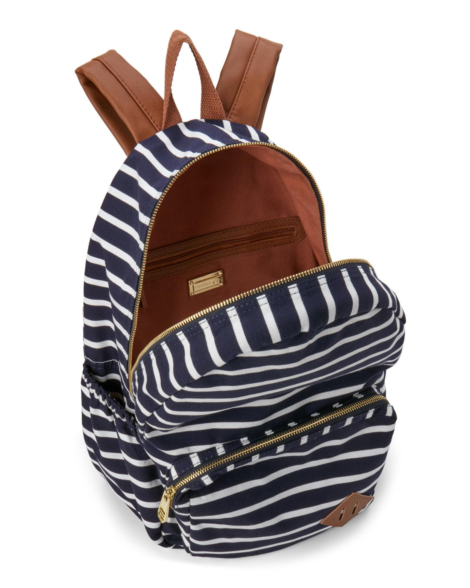 30421b5896c Steve Madden Striped Jersey Backpack in Blue - Lyst