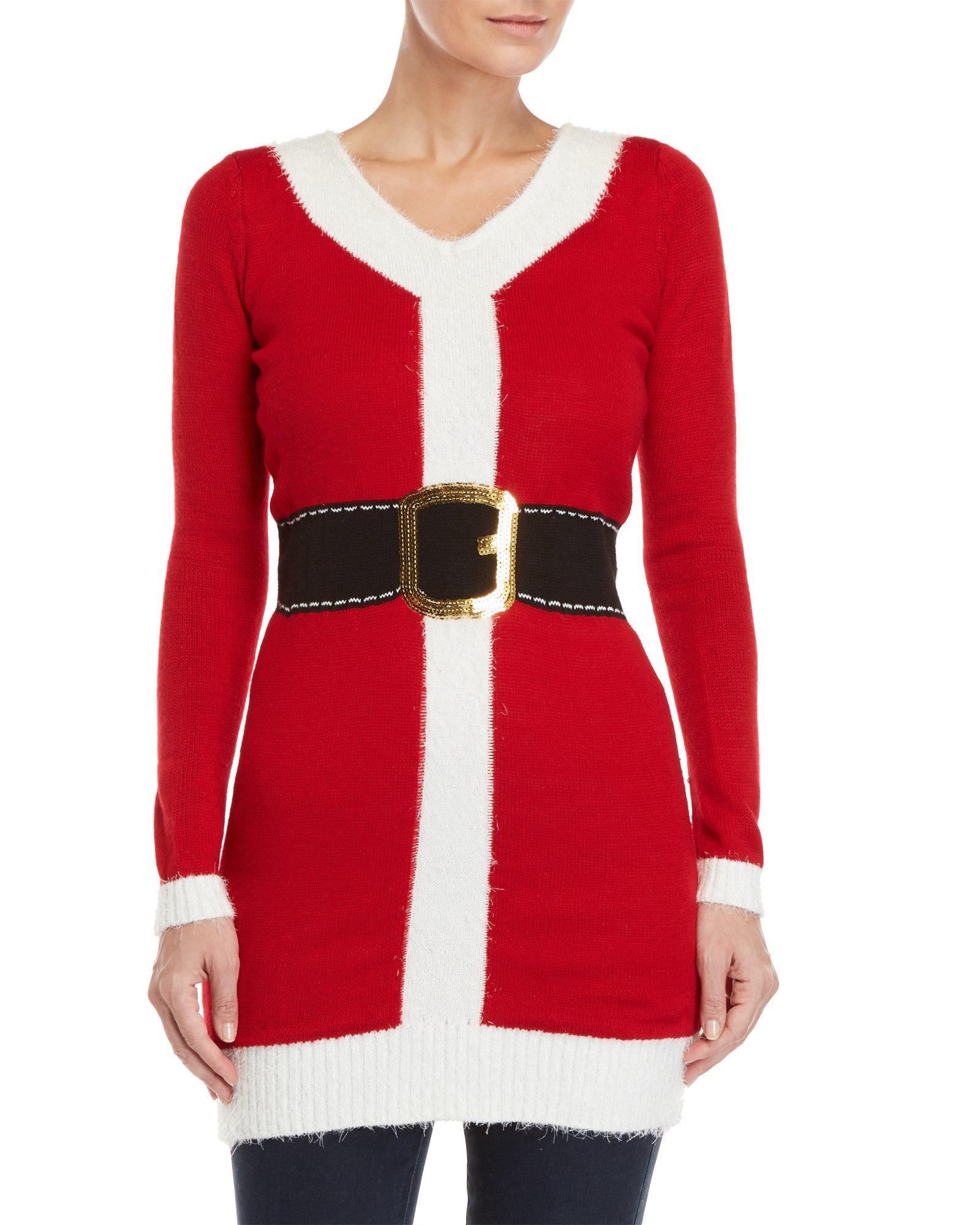 bebc41696a78d Love By Design Santa Ugly Christmas Sweater Dress in Red - Lyst