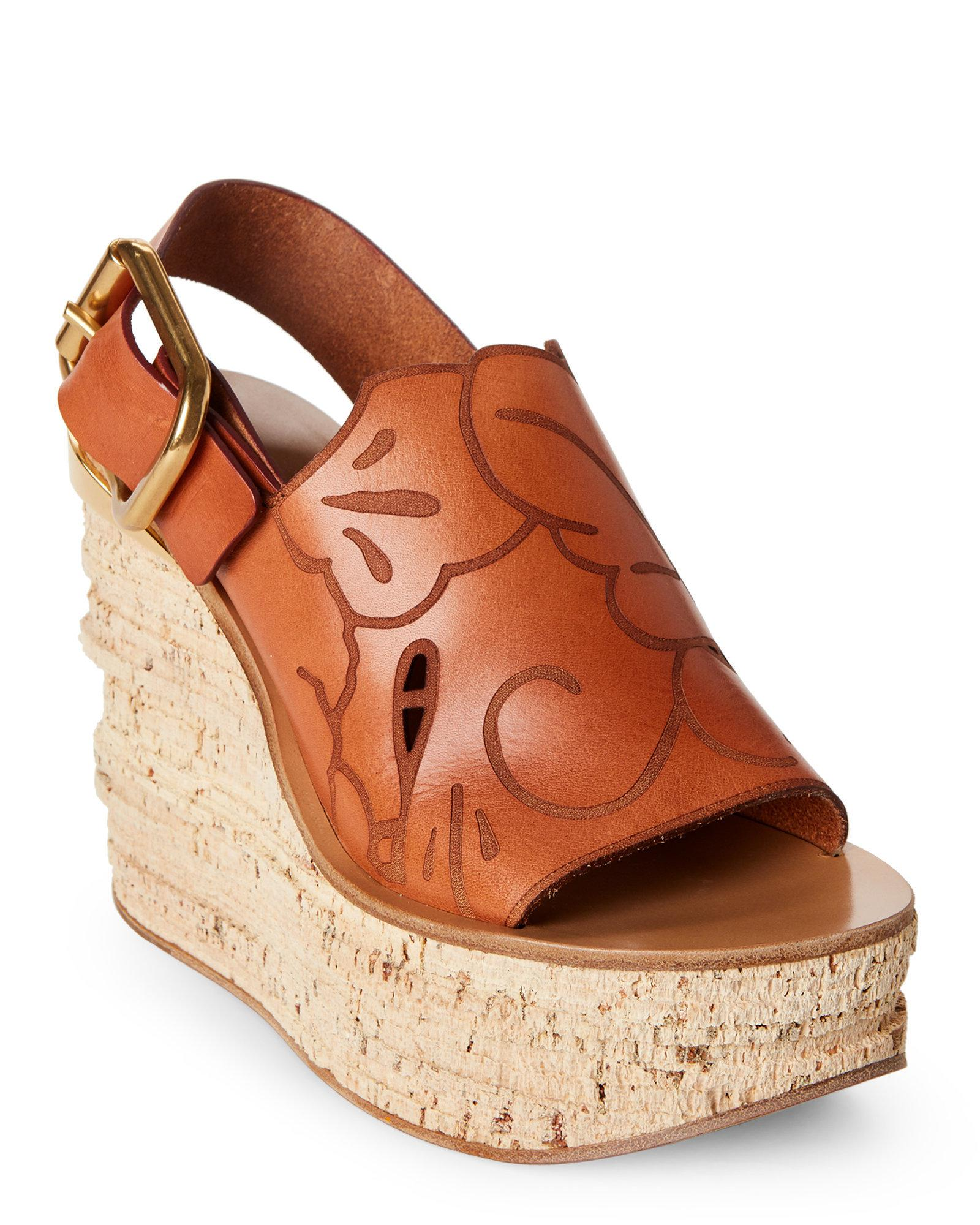 272f42a140e2 Lyst - Chloé Cognac Etched Leather Wedge Sandals in Brown
