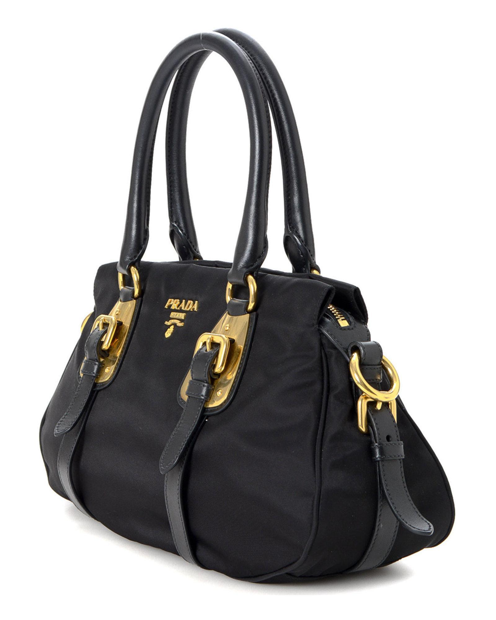 Lyst - Prada Tessuto Two Way Handbag - Vintage in Black 443a91fba06d4