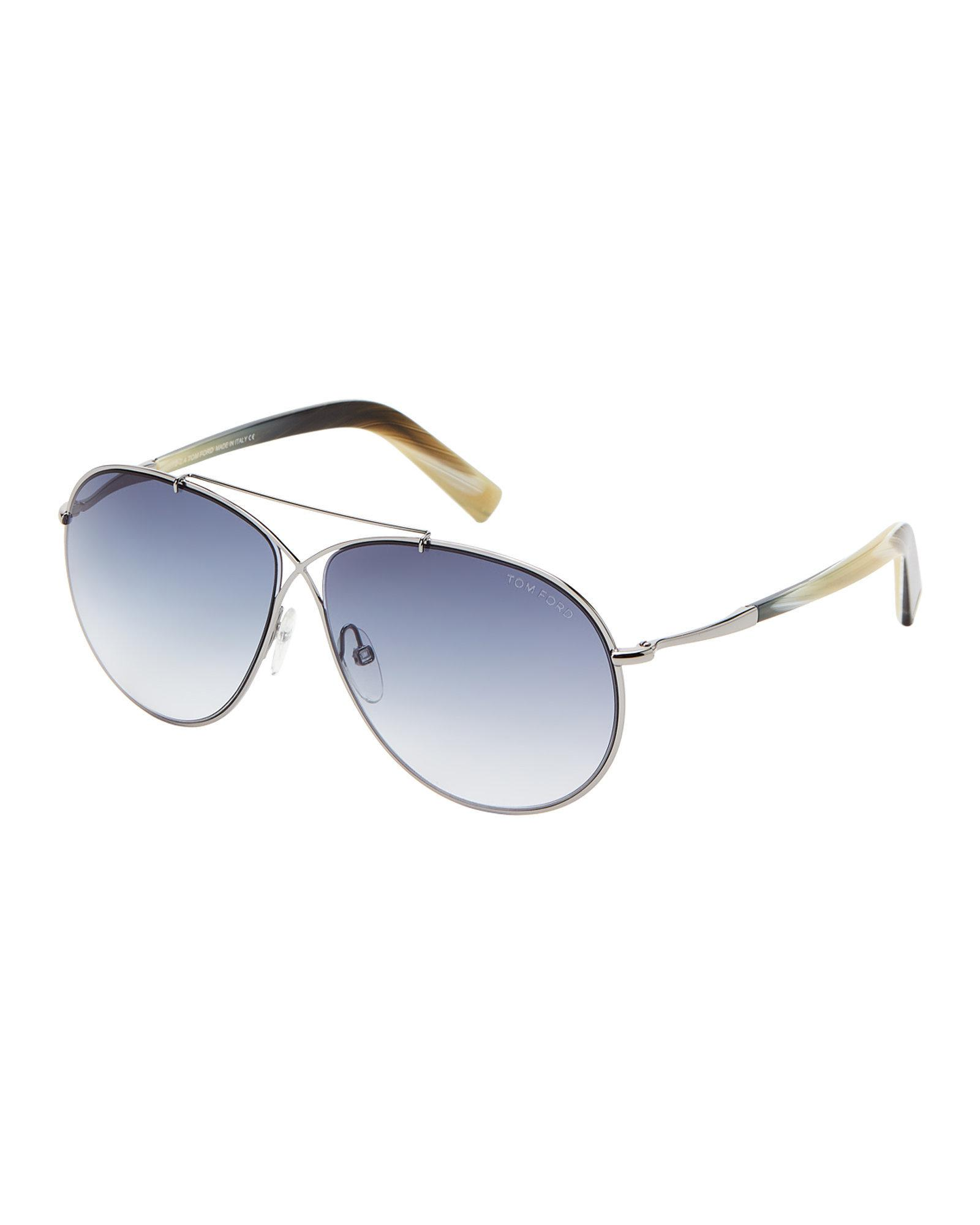 b6398c95a283f Lyst - Tom Ford Tf374 Rhodium-tone Eva Aviator Sunglasses in Blue