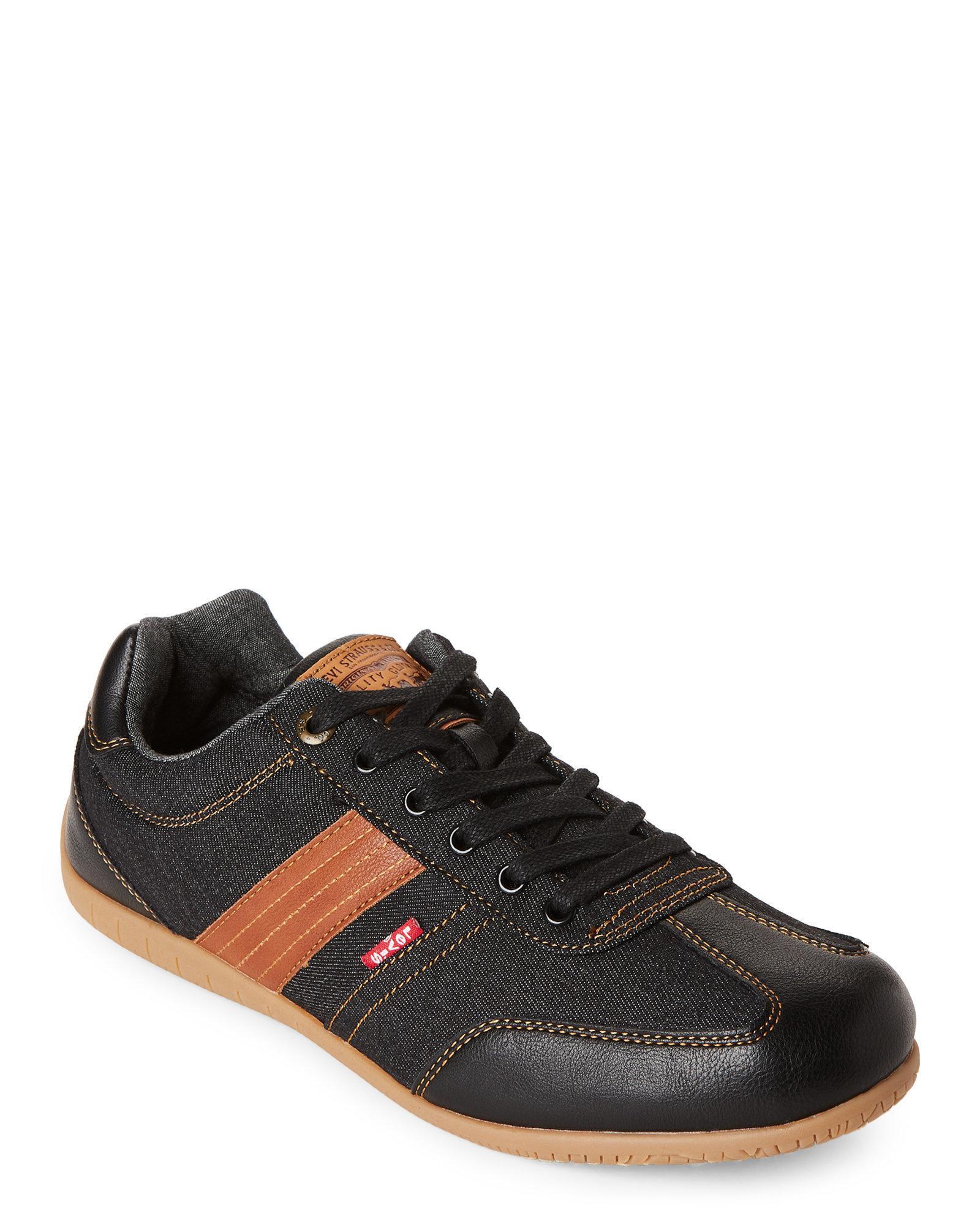 Levi's. Men's Black & Tan Solano Nappa Denim Low-top Sneakers
