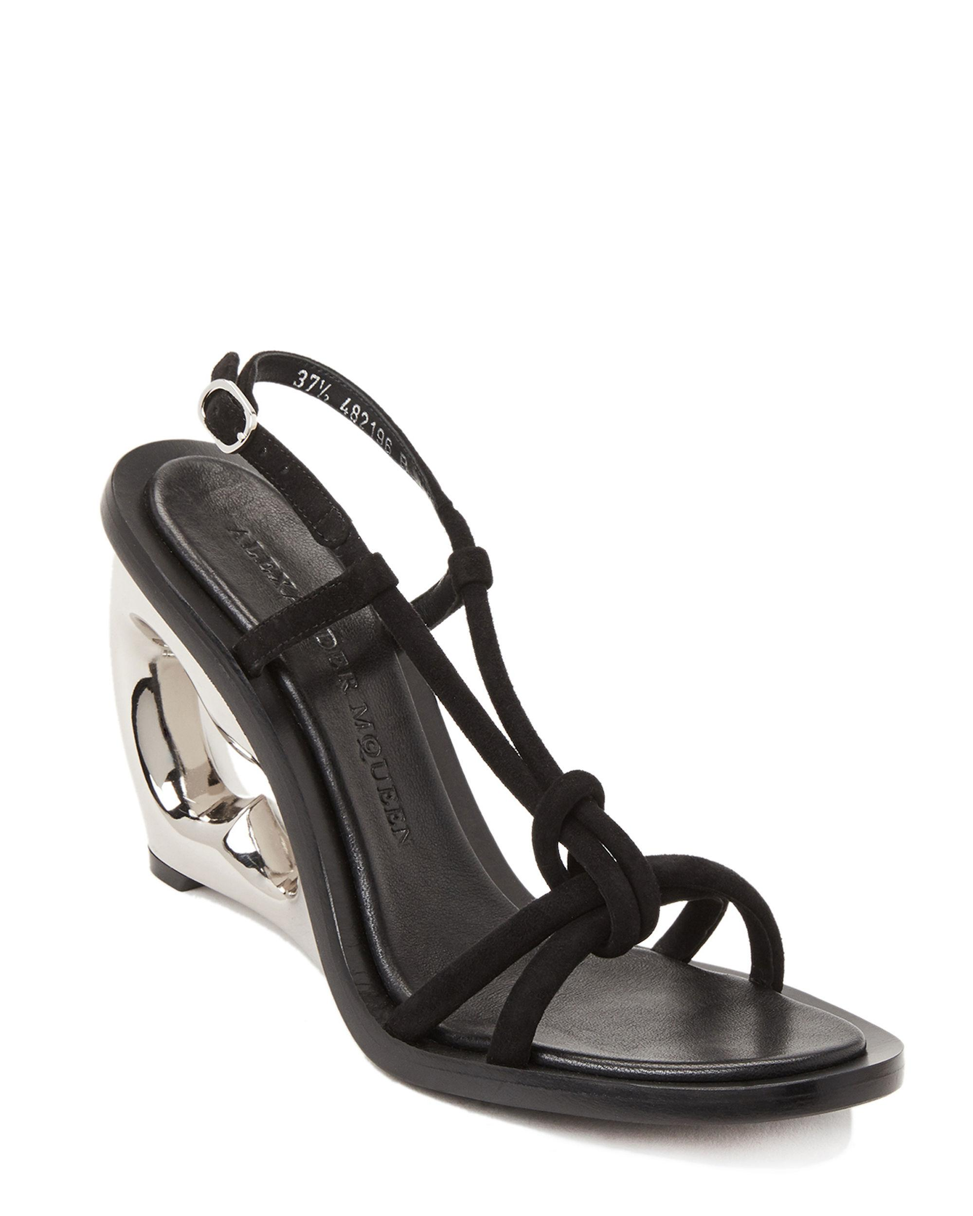 79d7e6af84 Alexander McQueen. Women's Black Strappy Suede Structured Wedge Sandals