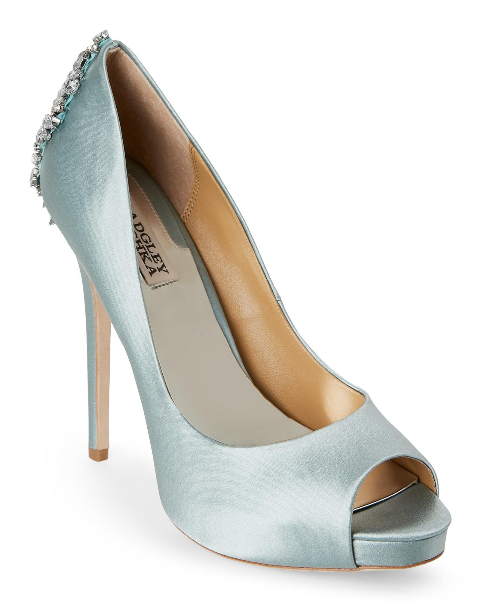 a770d38569a2 Lyst - Badgley Mischka Blue Radiance Kiara Embellished Peep Toe ...
